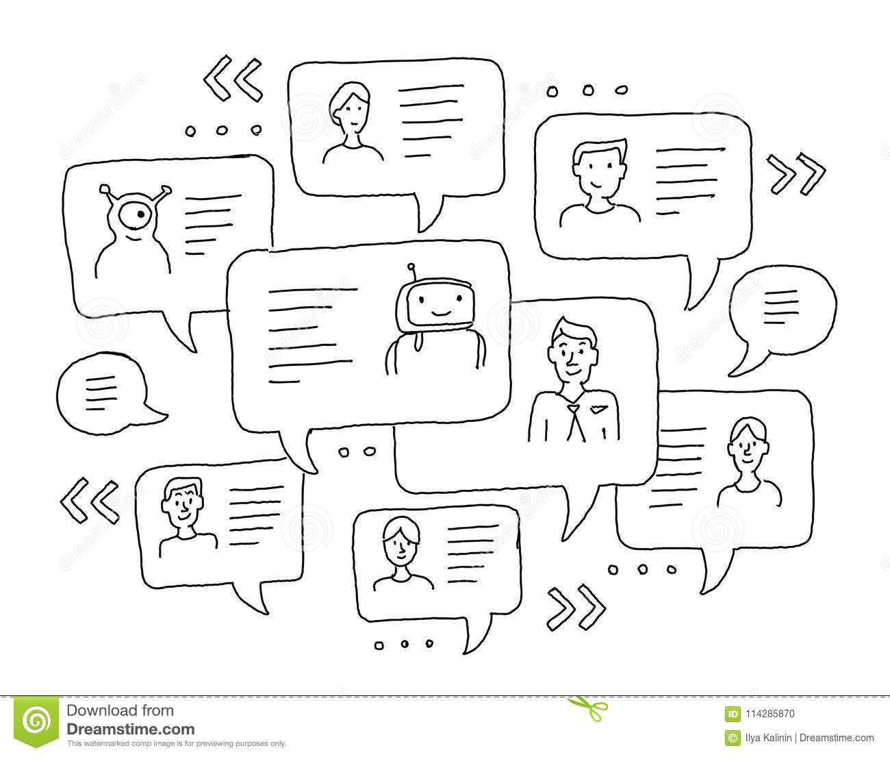 Chat messages internet communication. Sketch freehand drawing. Windows with messages. Messenger, correspondence