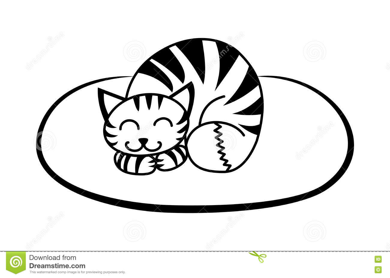 Cat Wearing A Hat Clipart Black And White