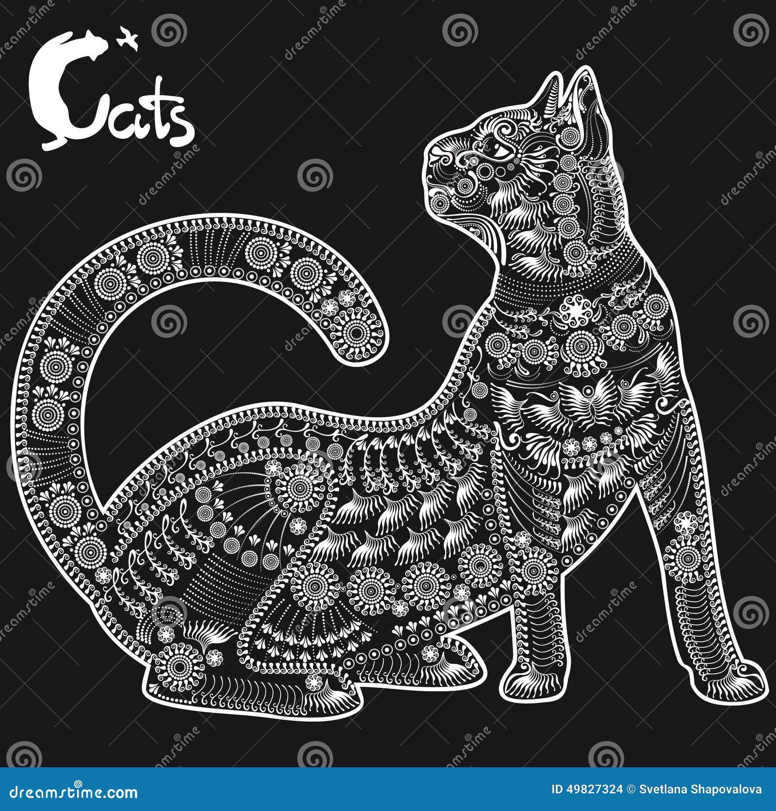 Chat, Modèle Décoratif Pour Un Tatouage Ou Pochoir Illustration de Vecteur - Image: 49827324