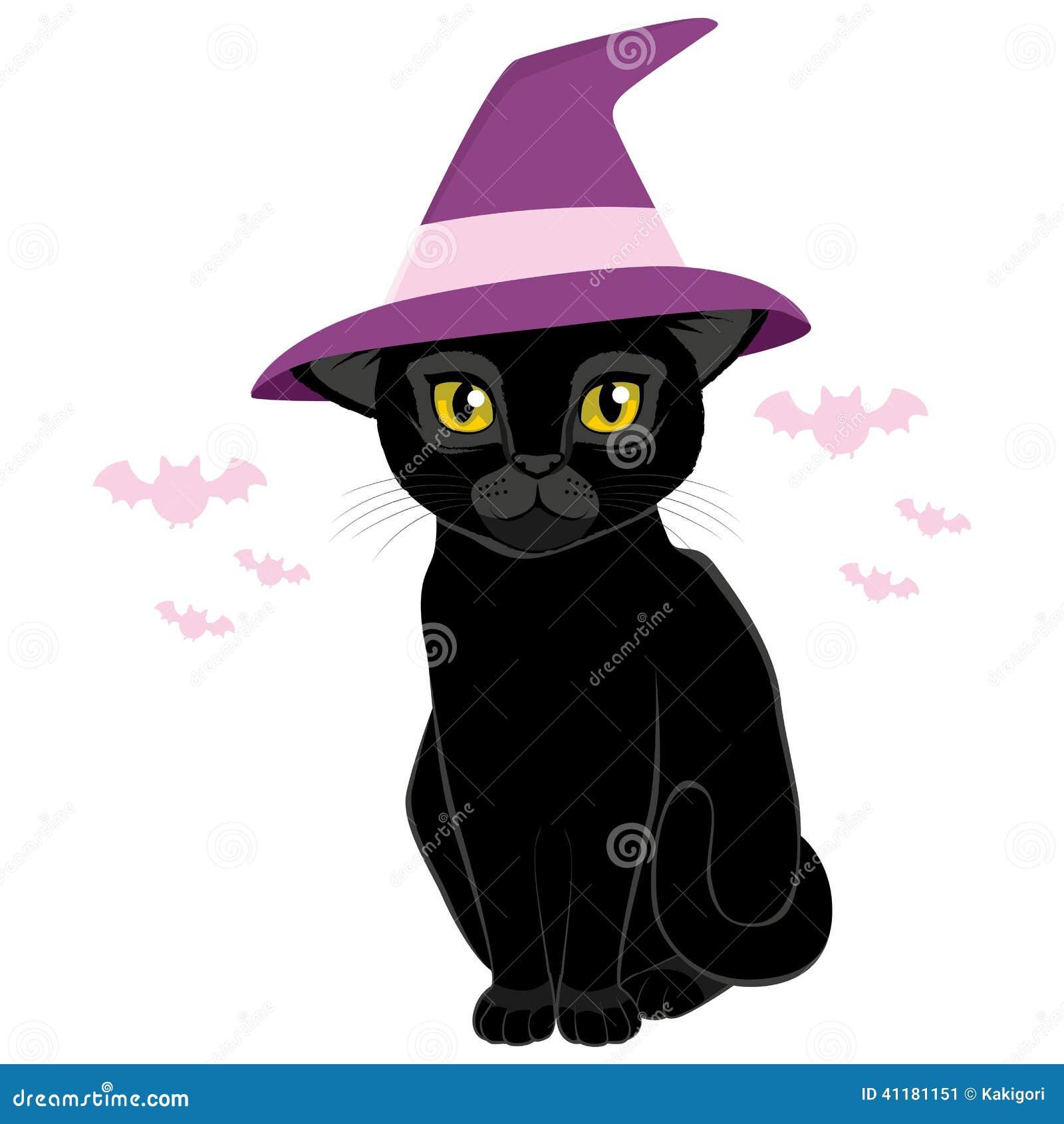 chat noir de chapeau de sorci re de halloween illustration. Black Bedroom Furniture Sets. Home Design Ideas