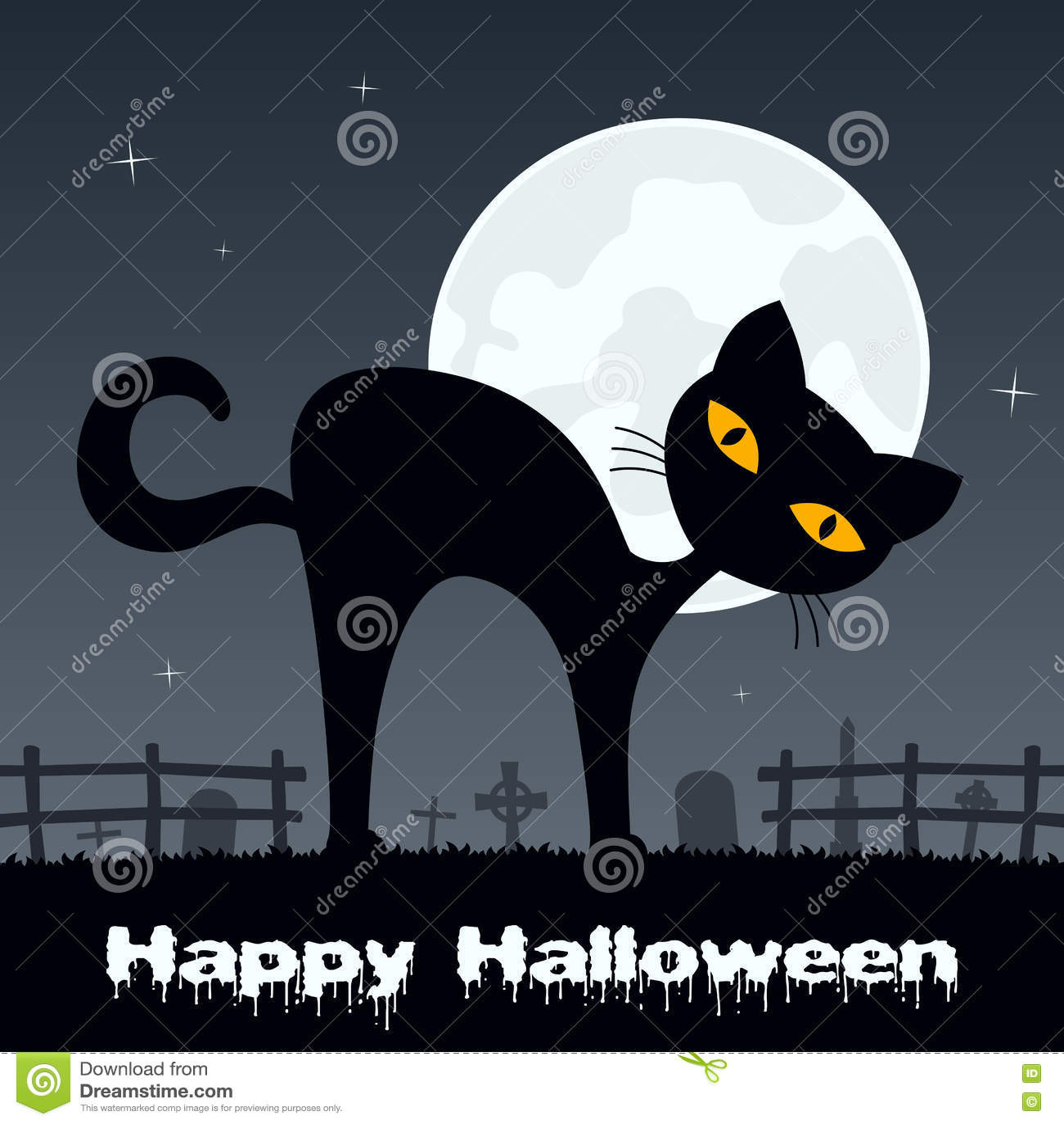 chat noir de halloween dans un cimeti re effrayant. Black Bedroom Furniture Sets. Home Design Ideas