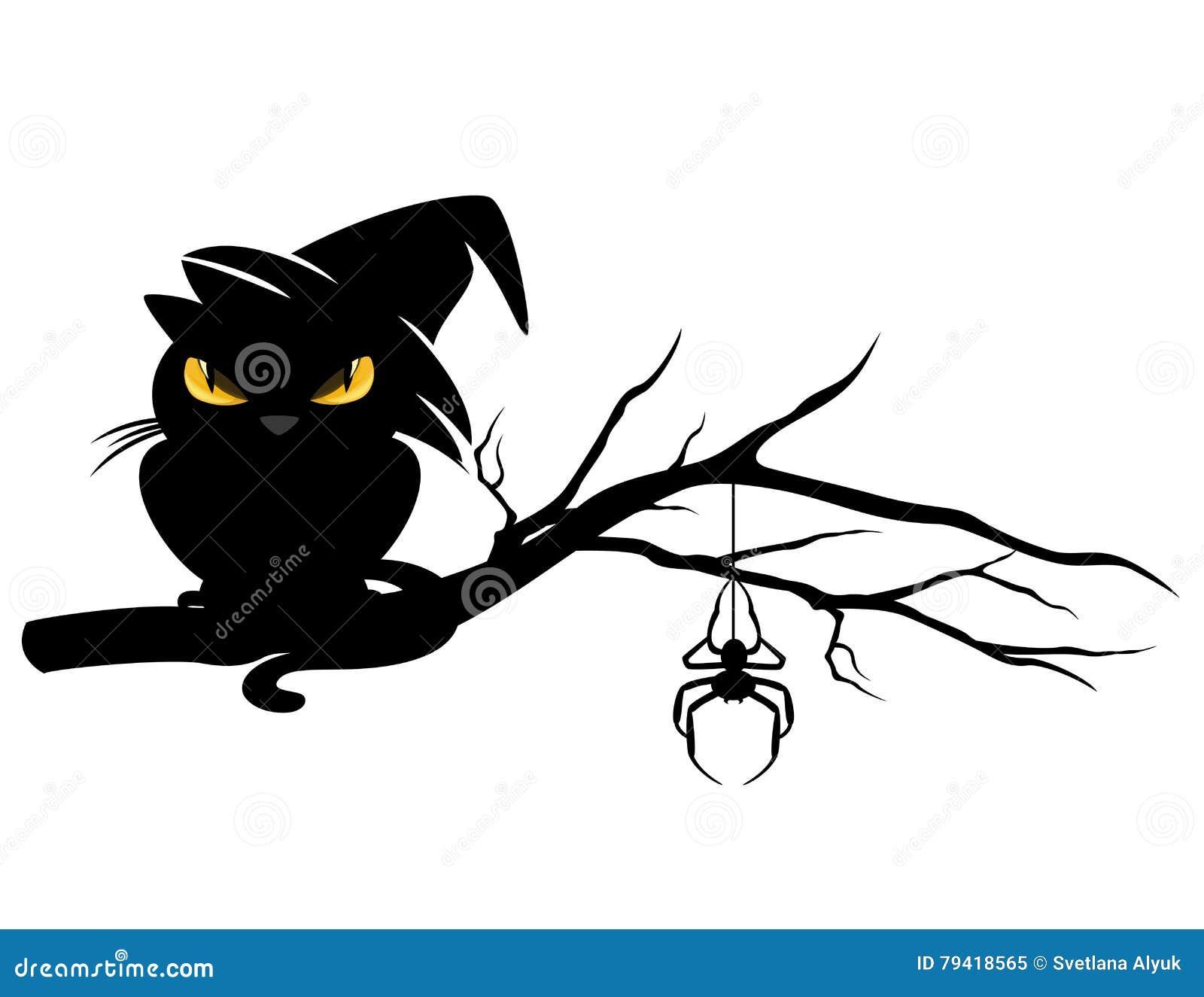 chat noir de halloween sur la branche d 39 arbre illustration. Black Bedroom Furniture Sets. Home Design Ideas
