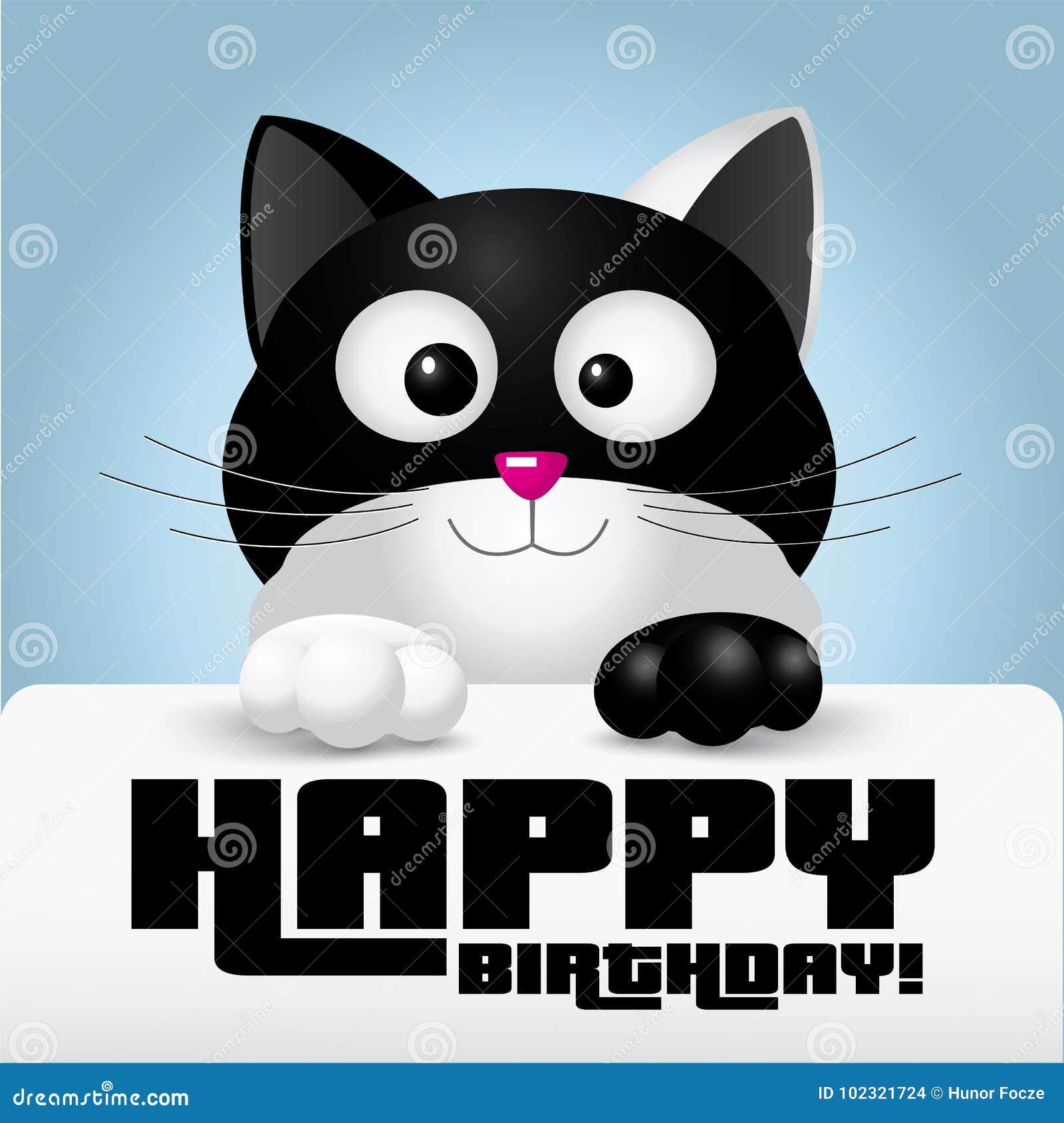 Chat Noir Et Blanc Tenant Une Carte De Voeux De Joyeux Anniversaire