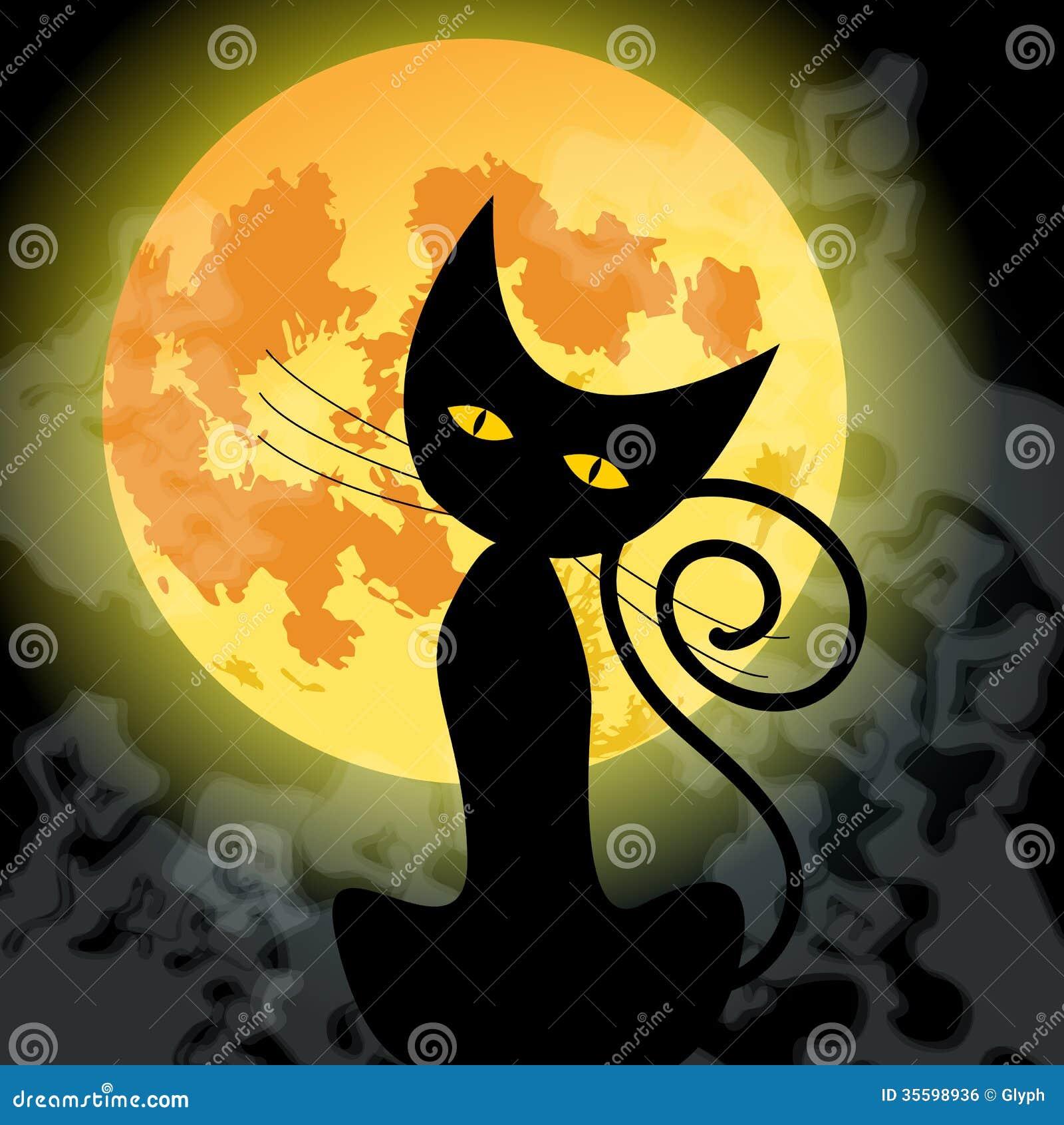 chat noir mignon de halloween et pleine lune image libre. Black Bedroom Furniture Sets. Home Design Ideas