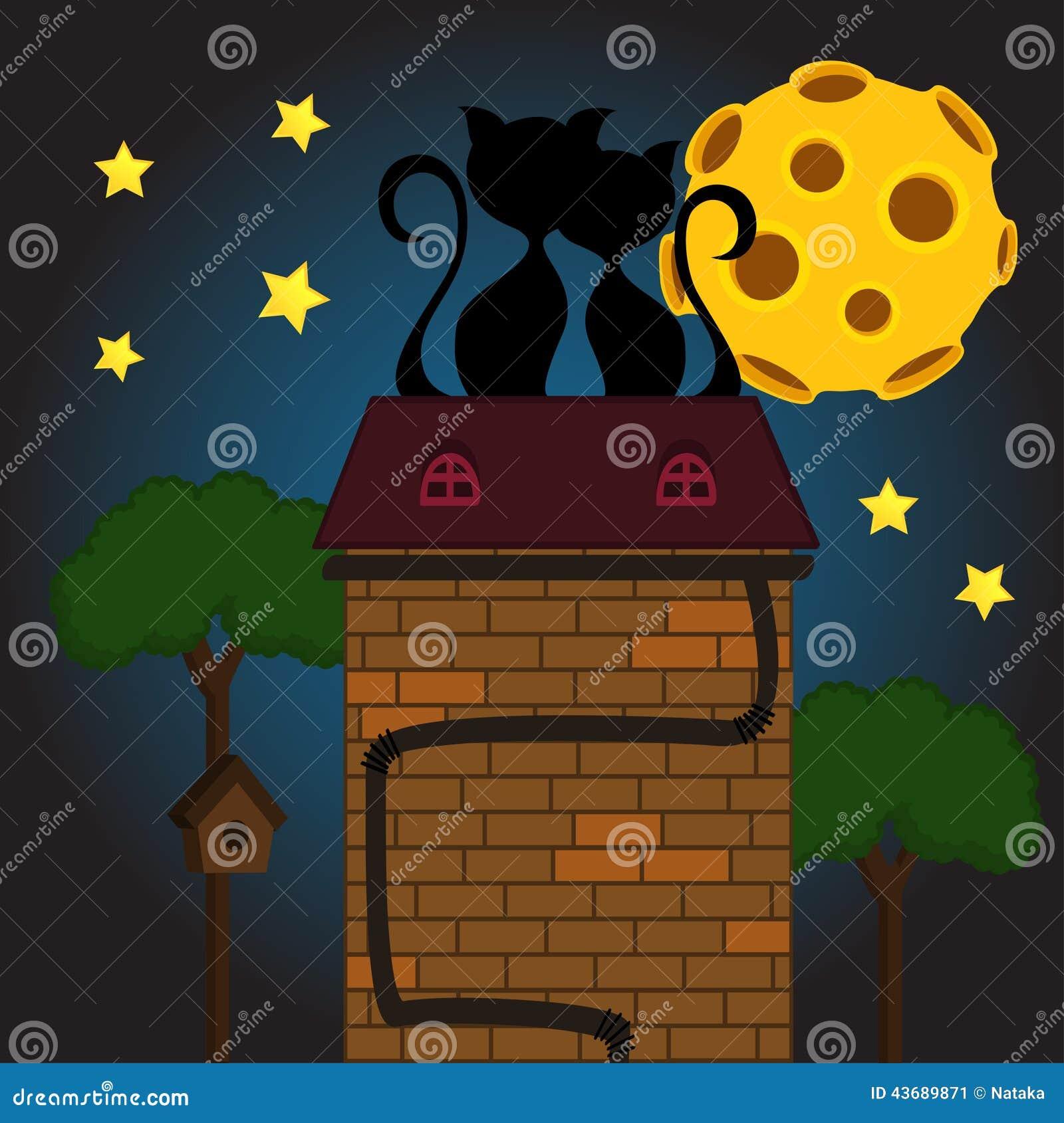 Chat noir sous la lune