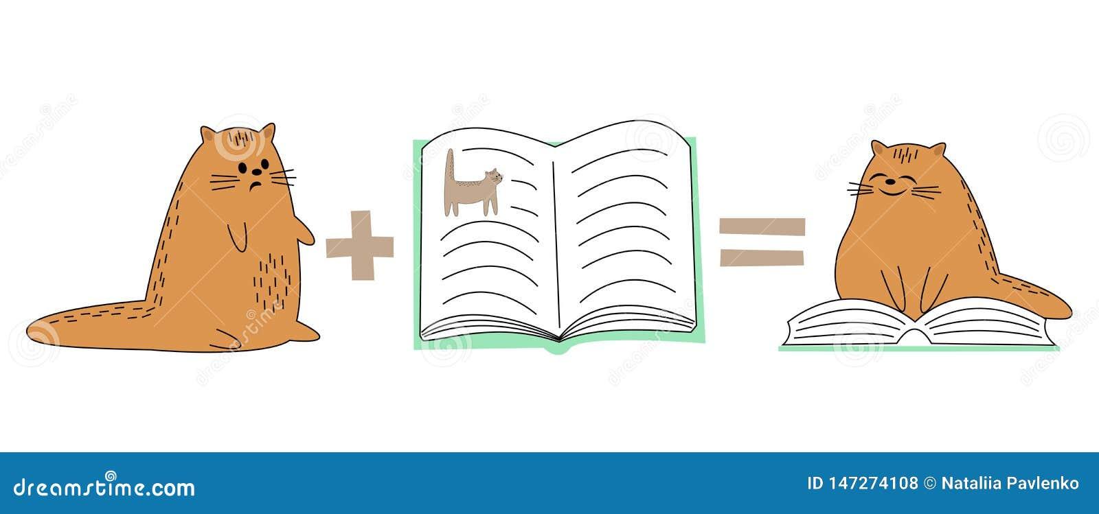 Chat rouge mignon L animal familier regarde le livre, se repose sur le livre L animal lit et sourit image de bande dessin?e Illus