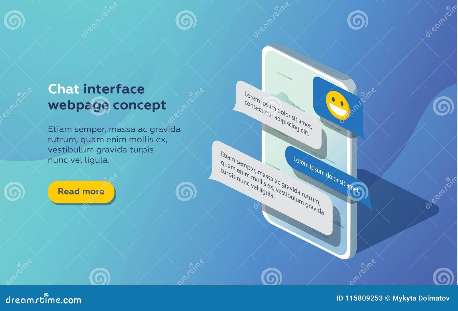 Chat-Schnittstellen-Anwendung mit Dialogfenster Säubern Sie bewegliches UI-Konzept des Entwurfes Sms-Bote