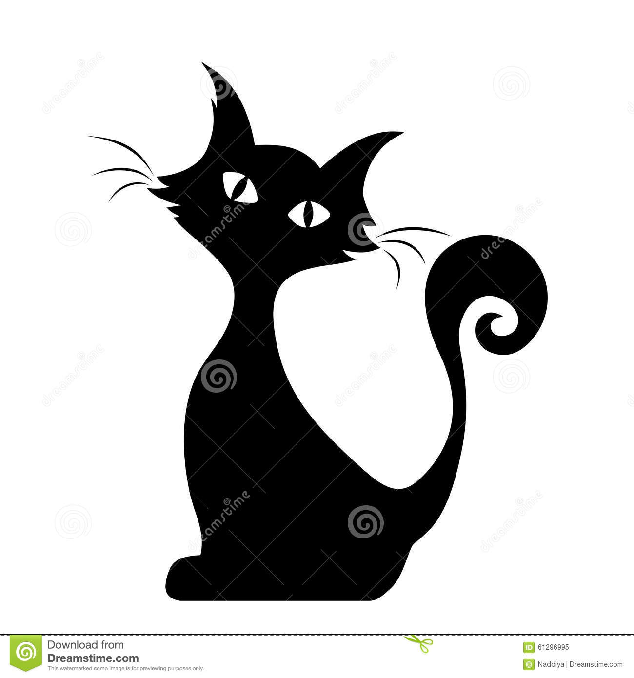 Chat se reposant silhouette noire de vecteur illustration - Dessin silhouette chat ...