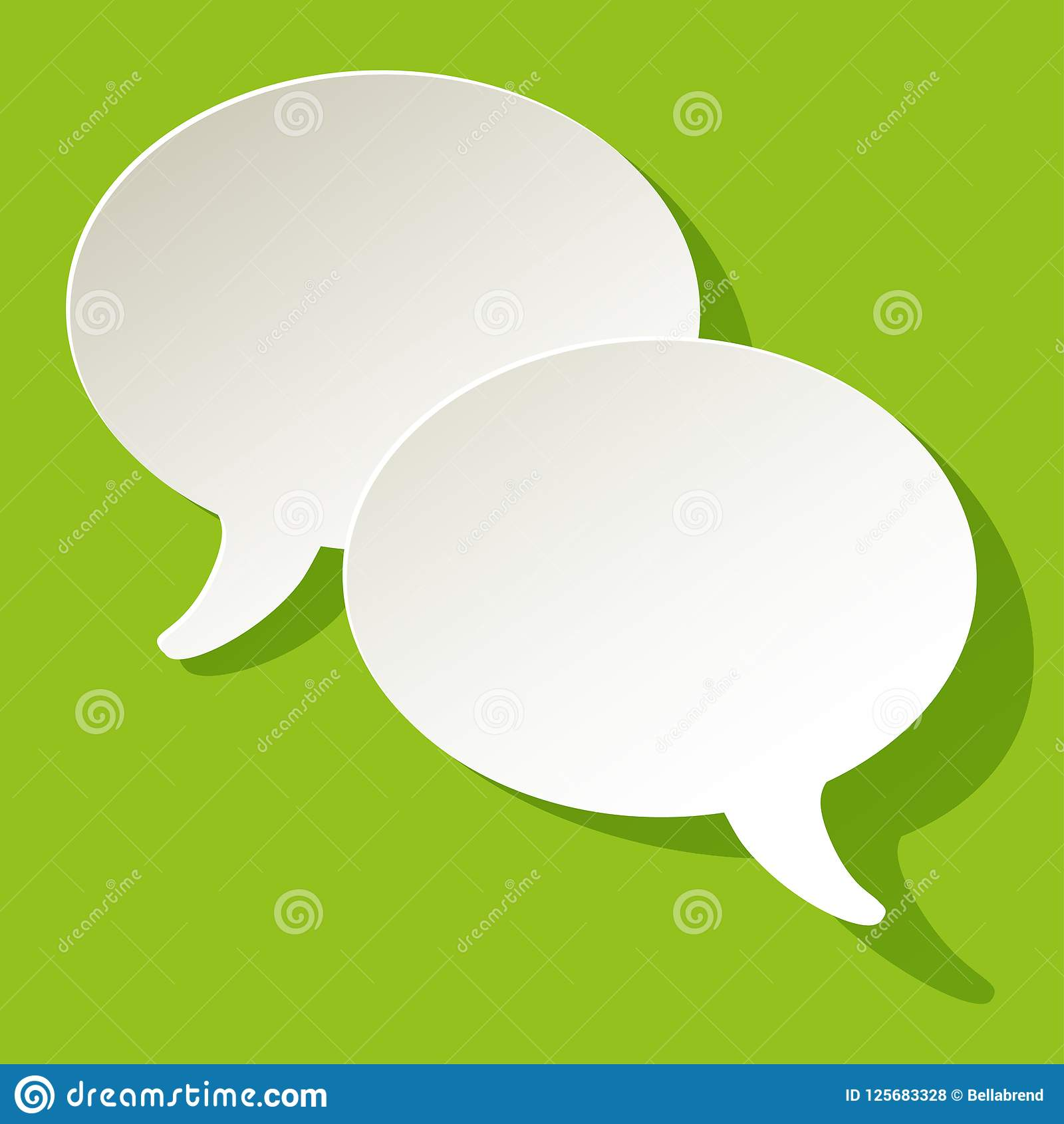 Chat speech bubbles ellipse vector white on a green paper background.