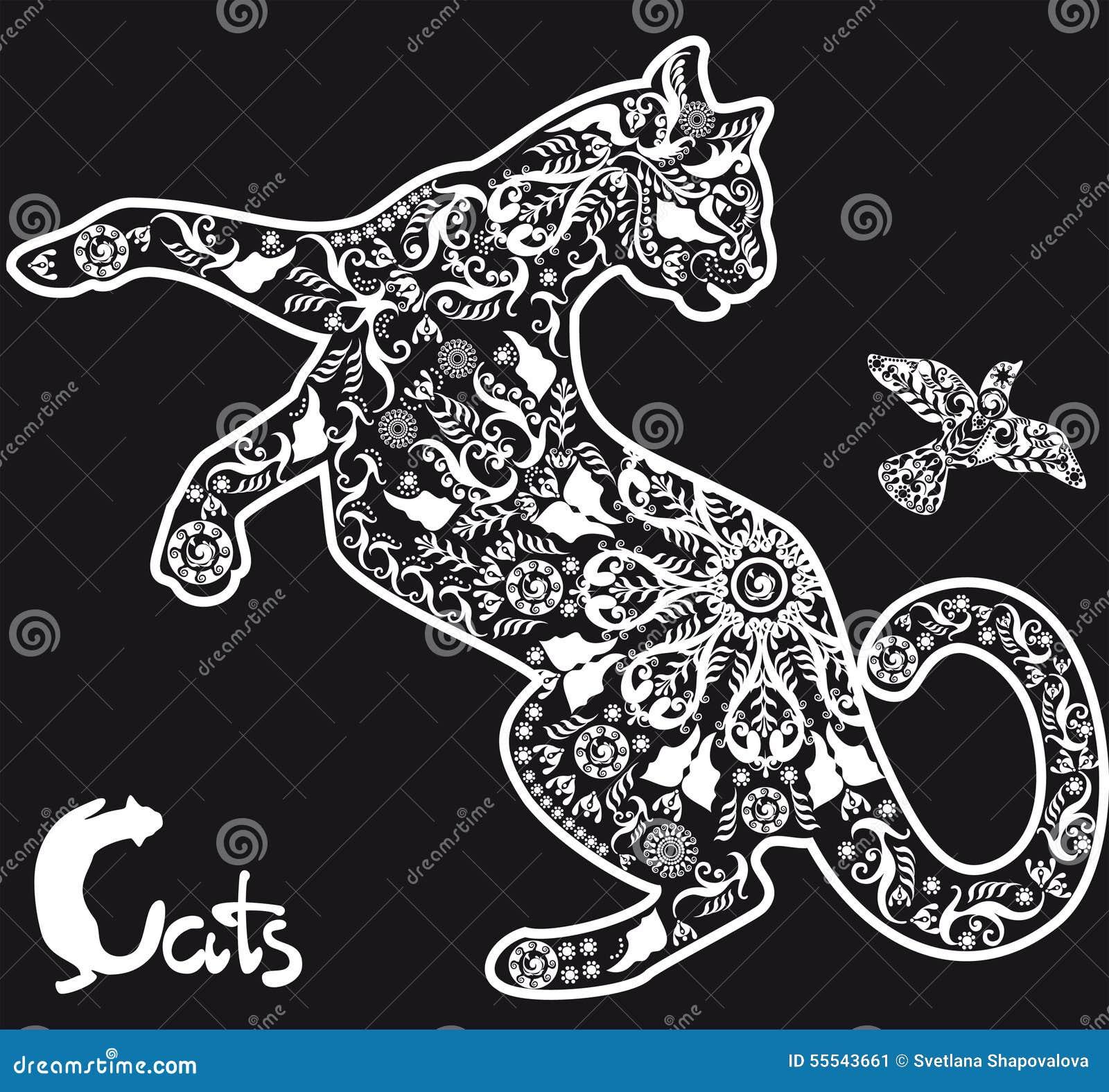 Chat stylis de dessin sur le fond noir illustration de vecteur image 55543661 - Dessins de chats stylises ...