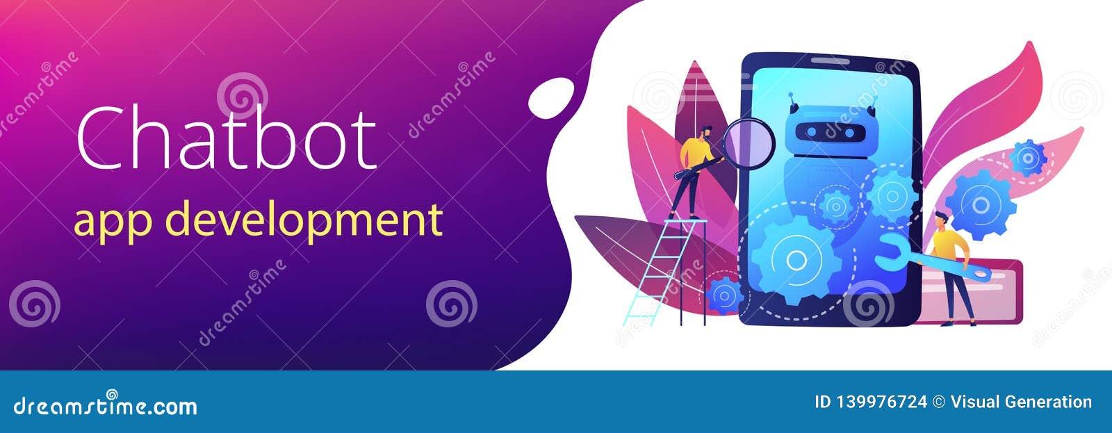 Chatbot App Development Concept Banner Header  Stock Vector