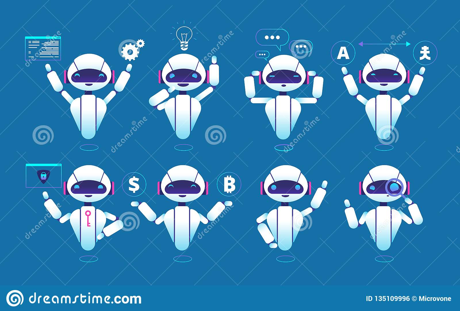Chatbot character. Cute robot online chat robot in different poses. Chatterbot vector isolated set
