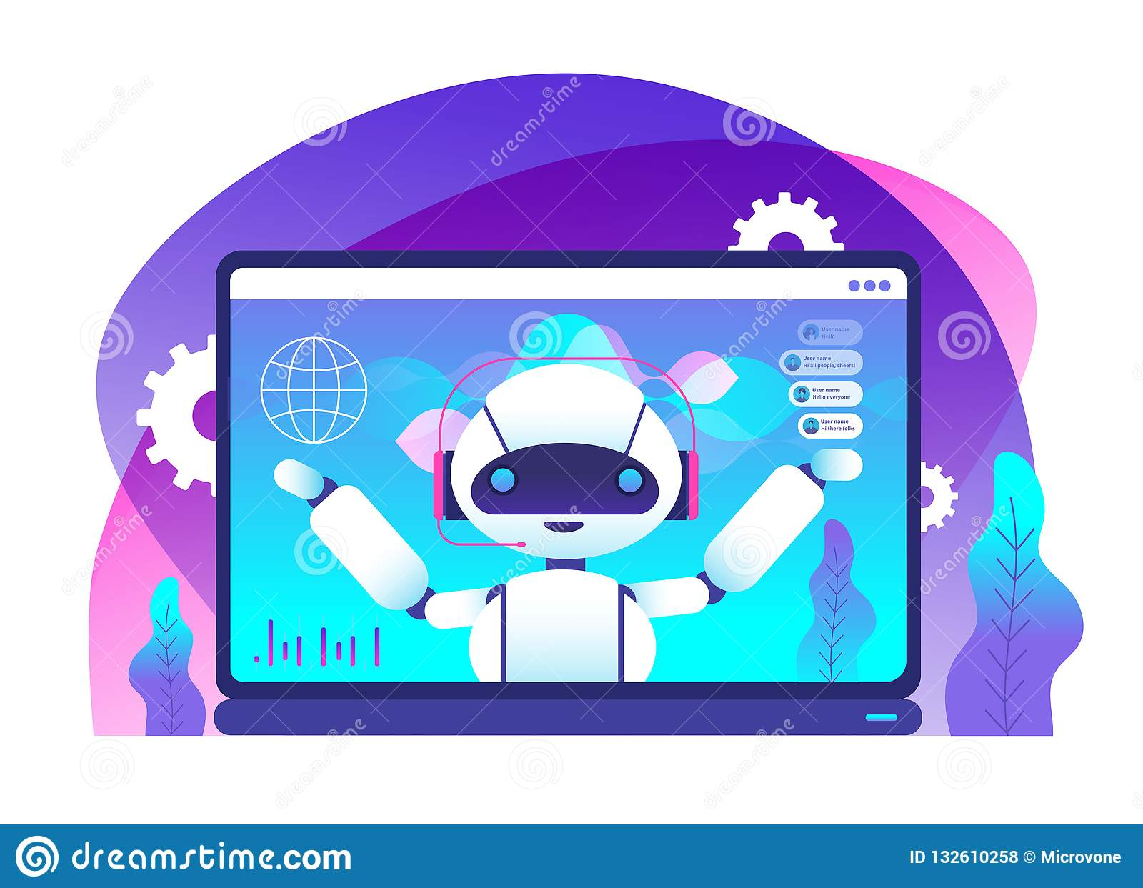 Chatbot concept. Ai robot advices clients. Hotline customer service. Virtual support and mobile assistance vector