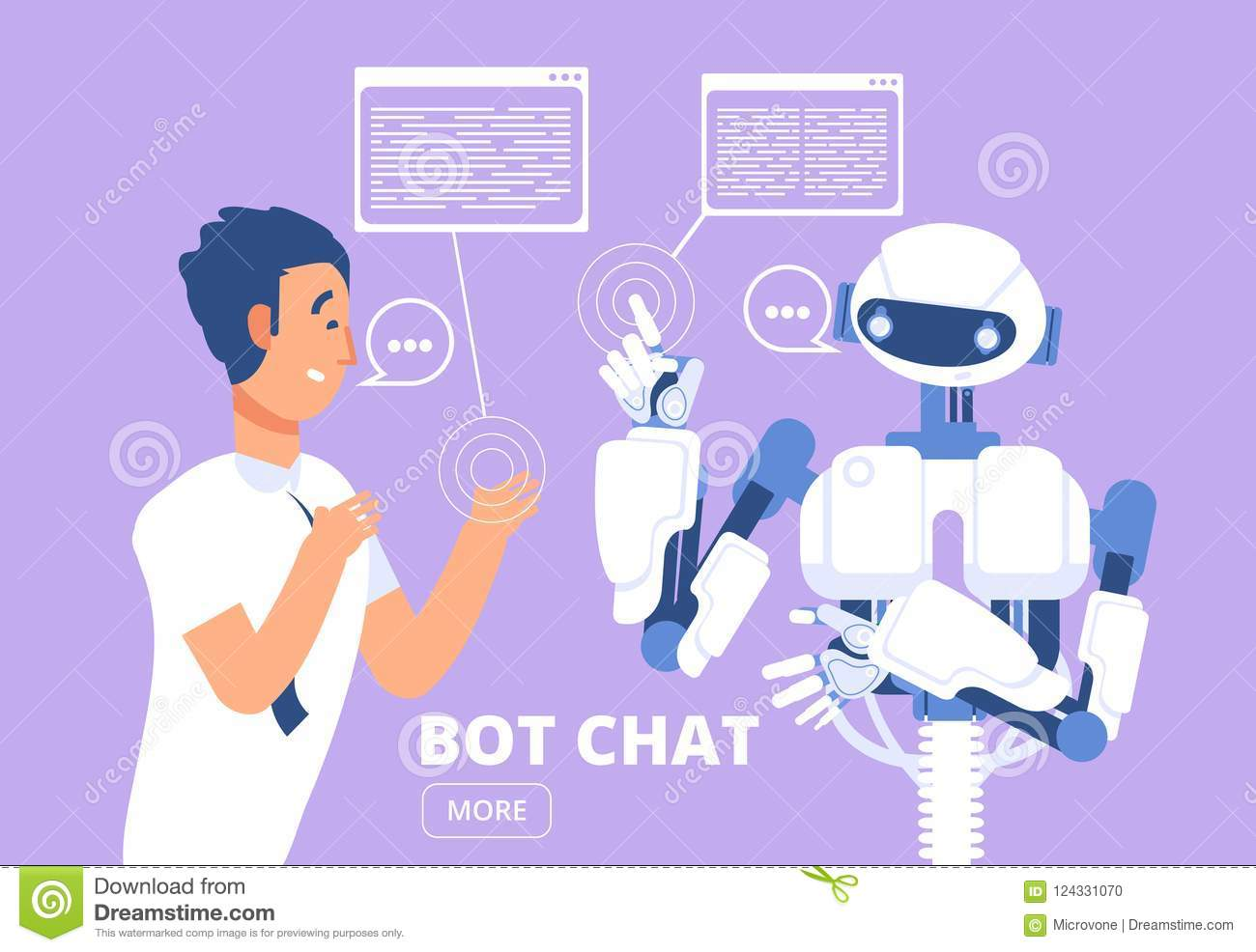 Chatbot concept. Man chatting with chat bot. Customer support service vector illustration