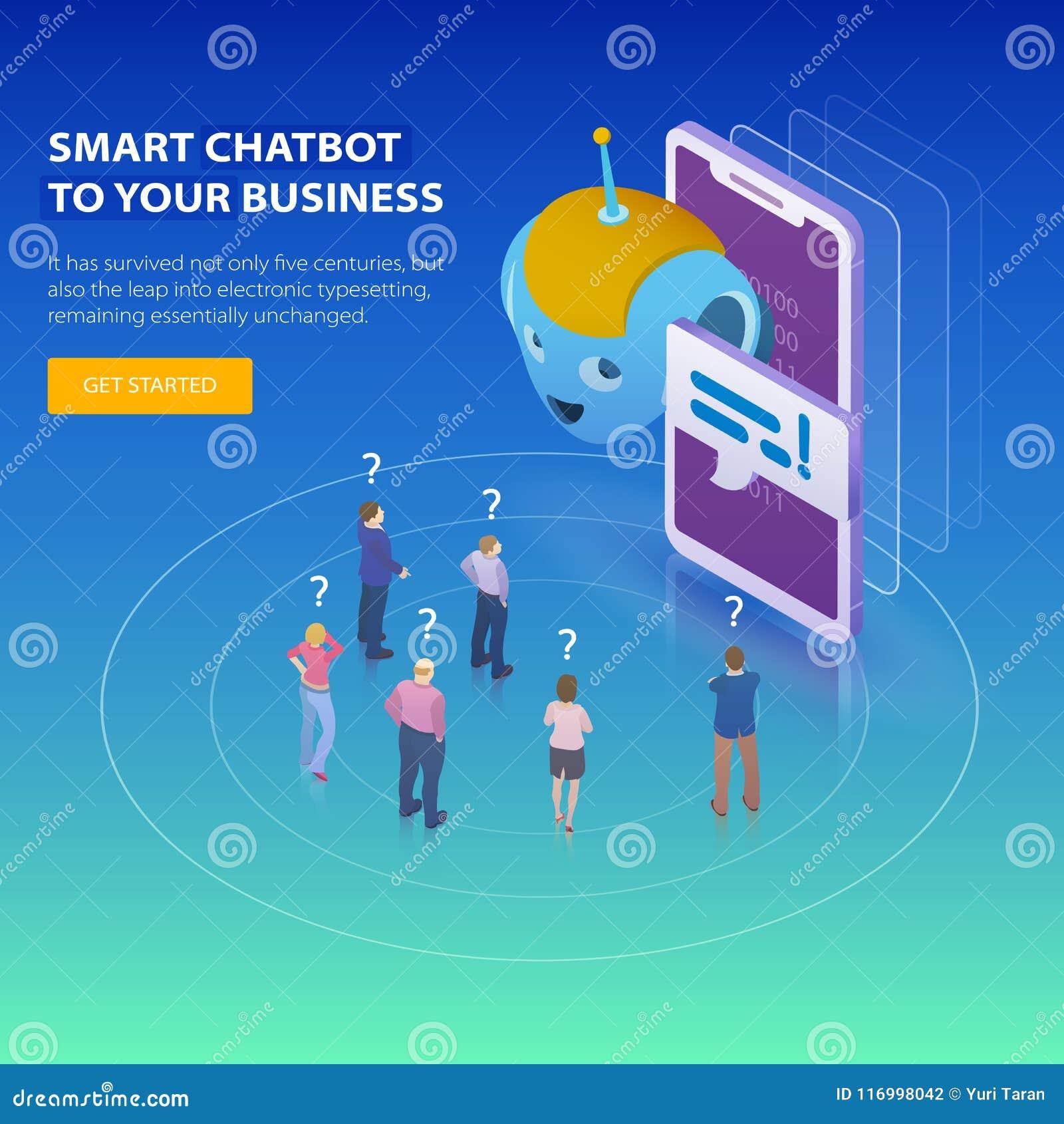 Chatbot e conceito futuro do mercado Conceito de projeto 3d isométrico liso Os povos pedem perguntas o chatbot Engodo do negócio
