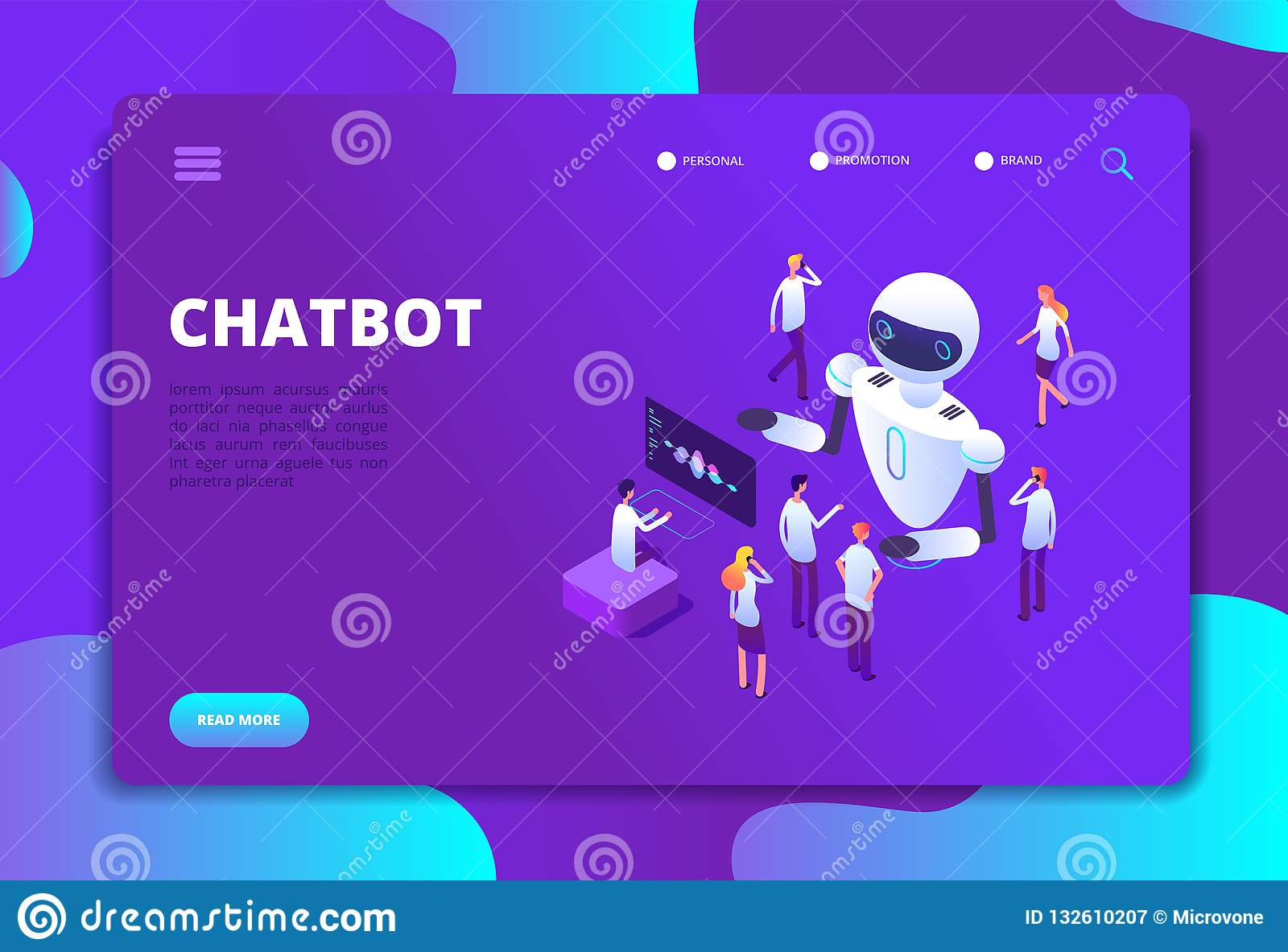 Chatbot isometric concept. Bot chatting with people. Artificial intelligence conversation future technology vector