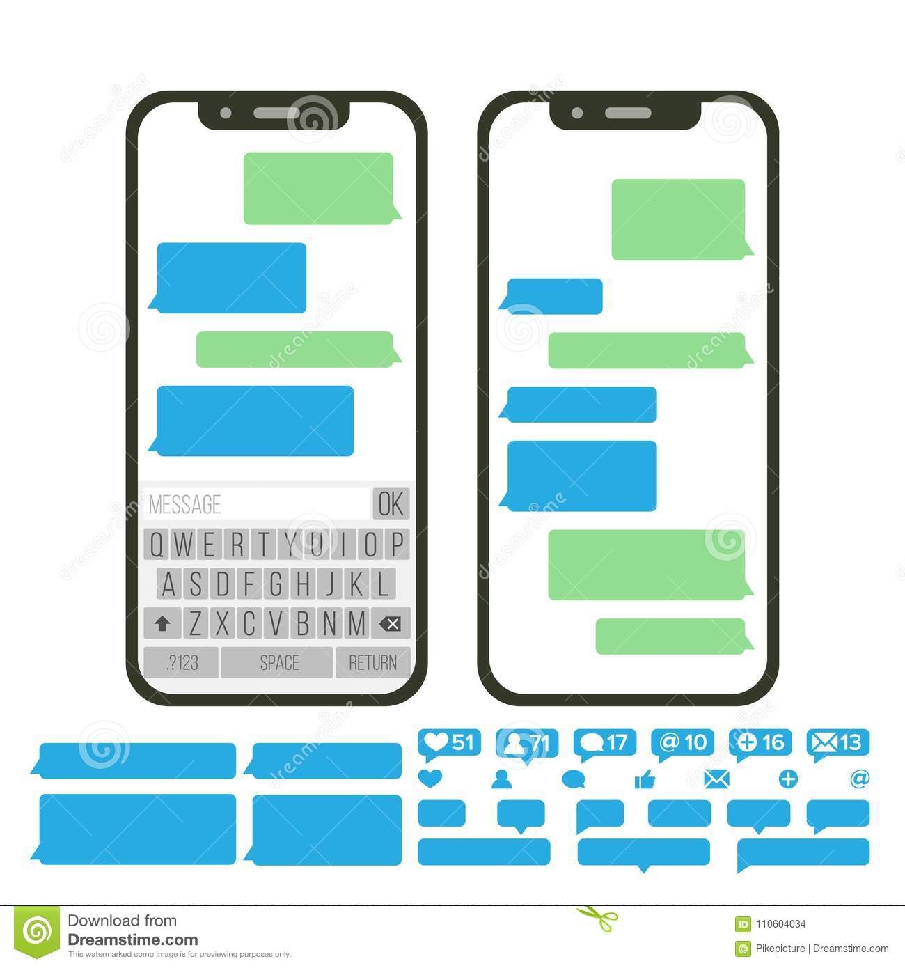 Mobile Screen Messaging Vector  Chat Bot Bubbles Set  Mobile