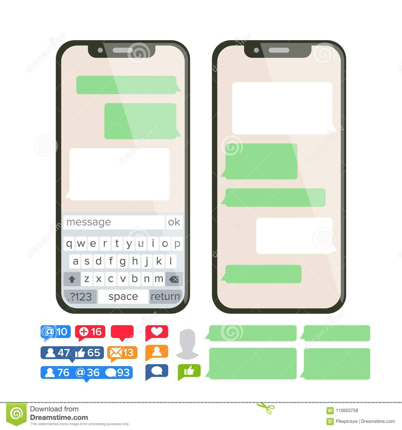Chatbot Text Message Vector  Chat Bot Bubble Set Template