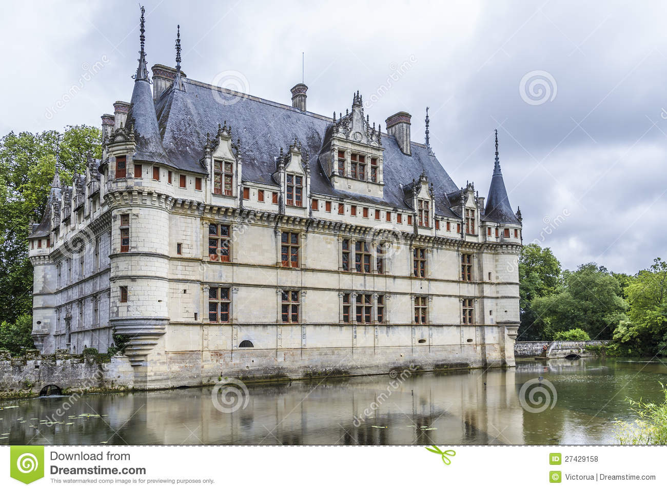 Chateau Azay Le Rideau Earliest French Chateaux Stock Photo Image