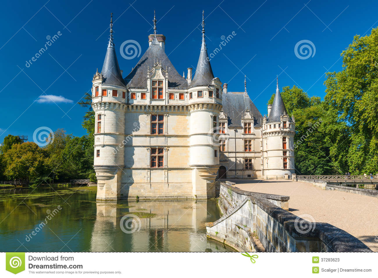 the chateau de azay le rideau france stock image image of attraction france 37283623. Black Bedroom Furniture Sets. Home Design Ideas
