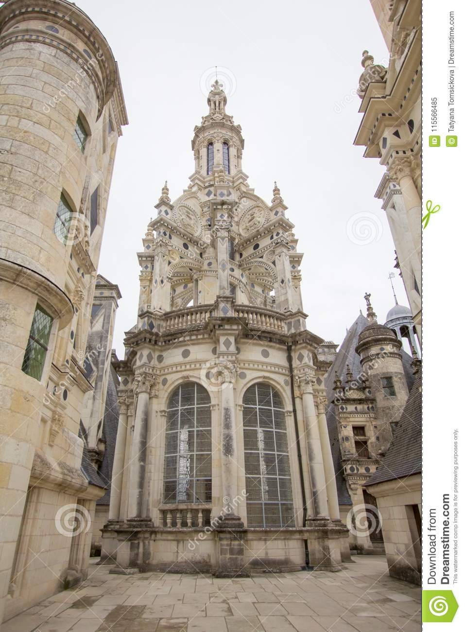 Chateau de Chambord, royal medieval french castle at Loire Valley in France