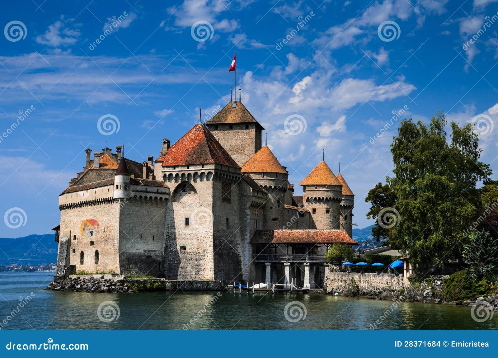 Chateau DE Chillon Op Meer Gen u00e8ve, Zwitserland Stock Afbeeldingen   Afbeelding  28371684