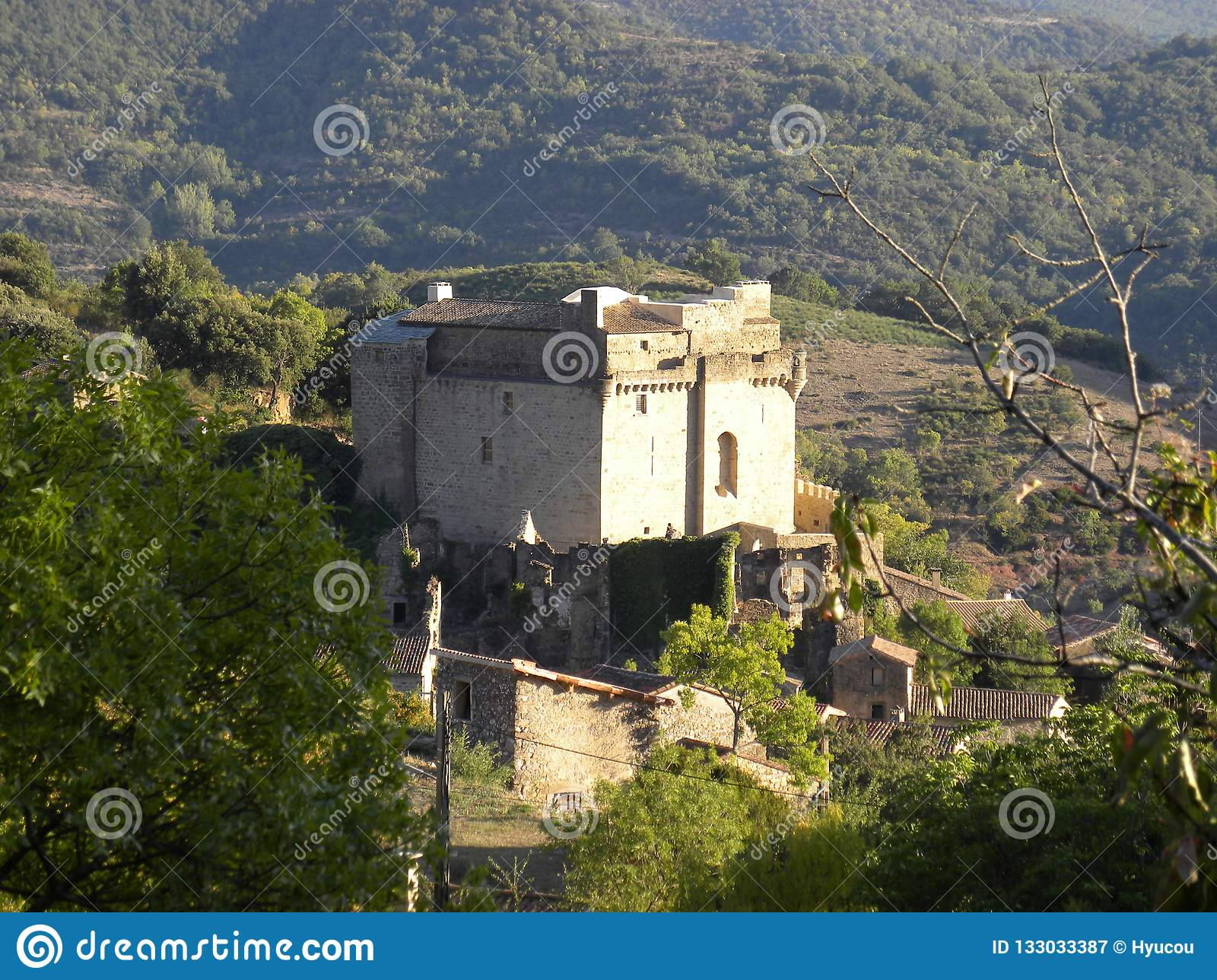 Chateau de dio, a castle in the herault department, france