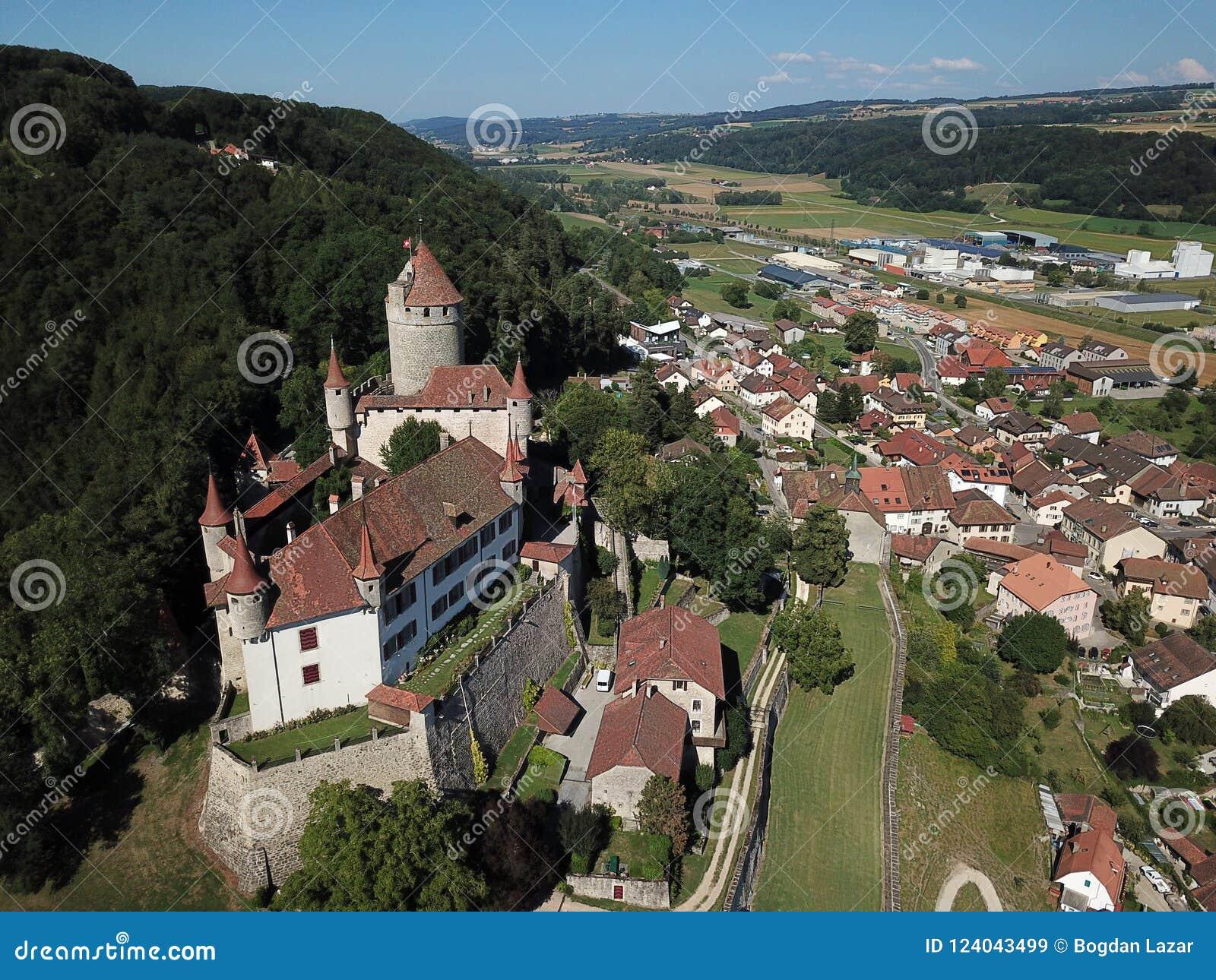Chateau De Lucens, Die Schweiz Stockbild