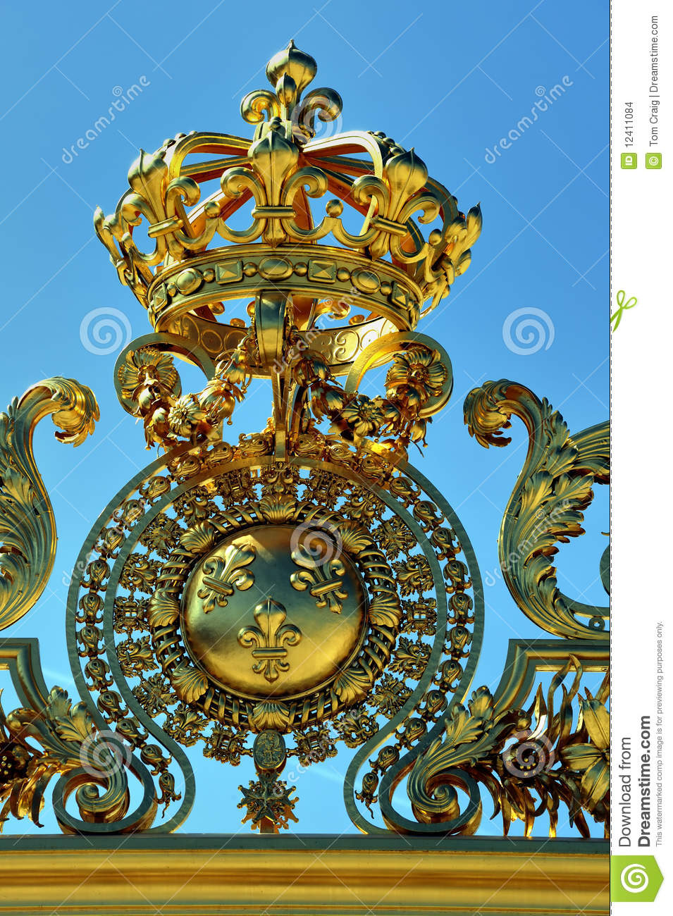 Chateau De Versailles Golden French King Crown T Stock