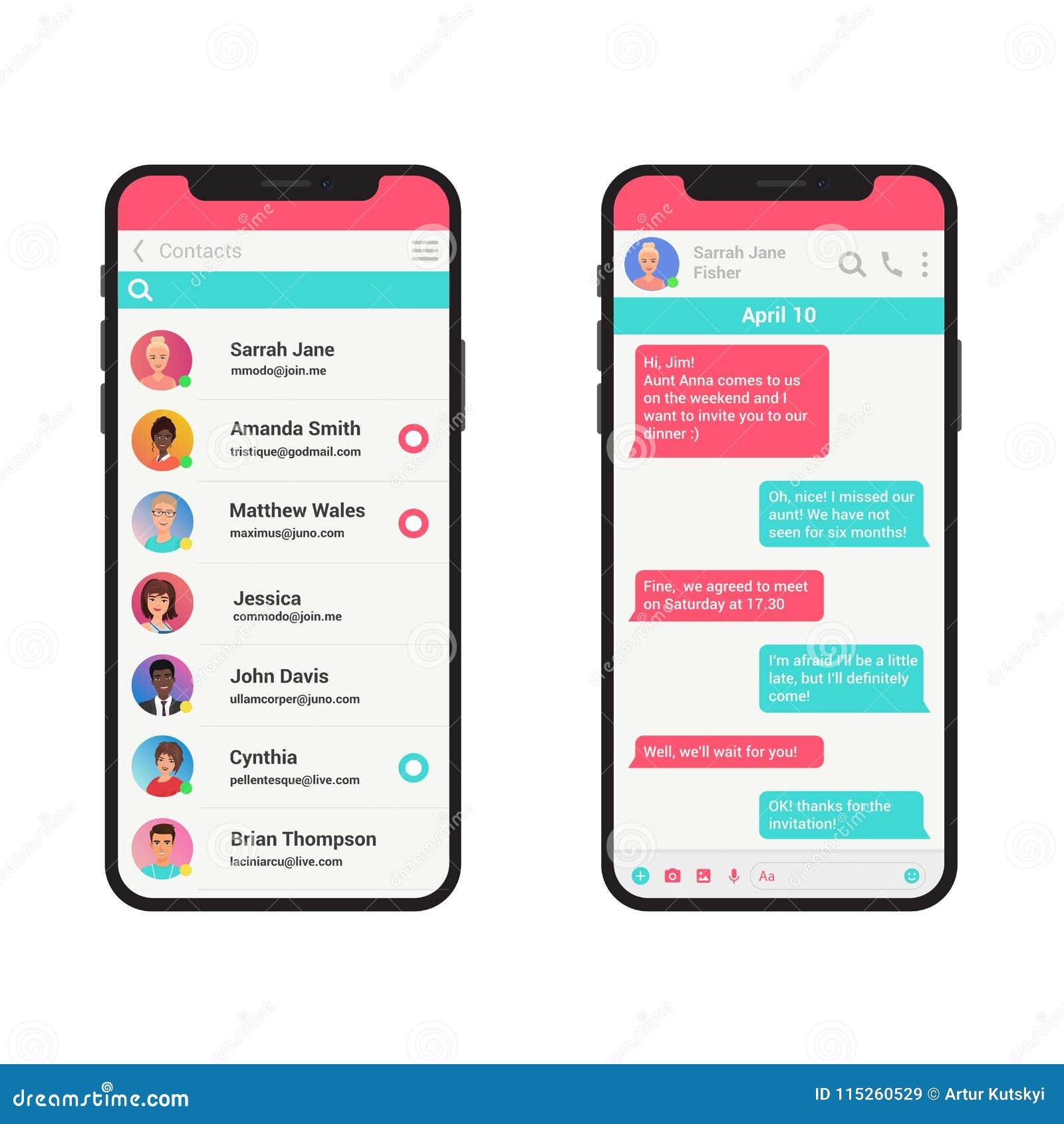 Chating i przesyłanie wiadomości wektorowy ilustracyjny pojęcie Ogólnospołecznego sieć gona nowożytny smartphone odizolowywający