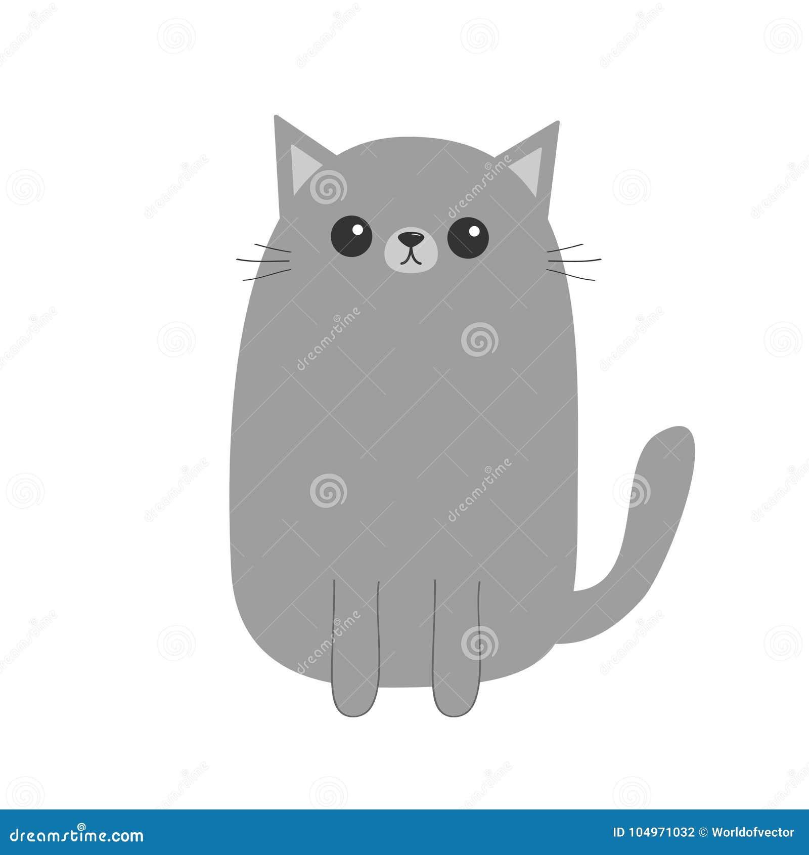 Chaton Gris De Chat Personnage De Dessin Anime Mignon Animal De