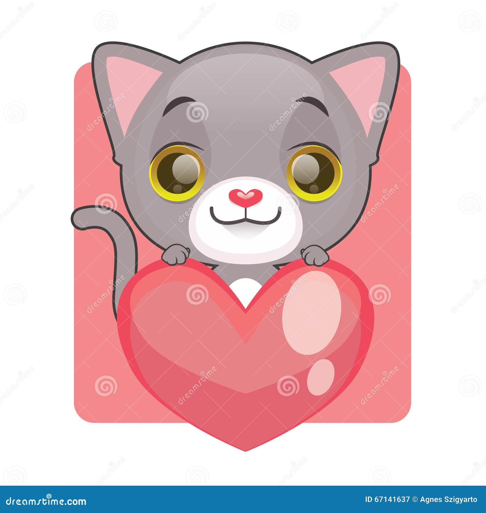 Chaton gris mignon tenant un coeur géant