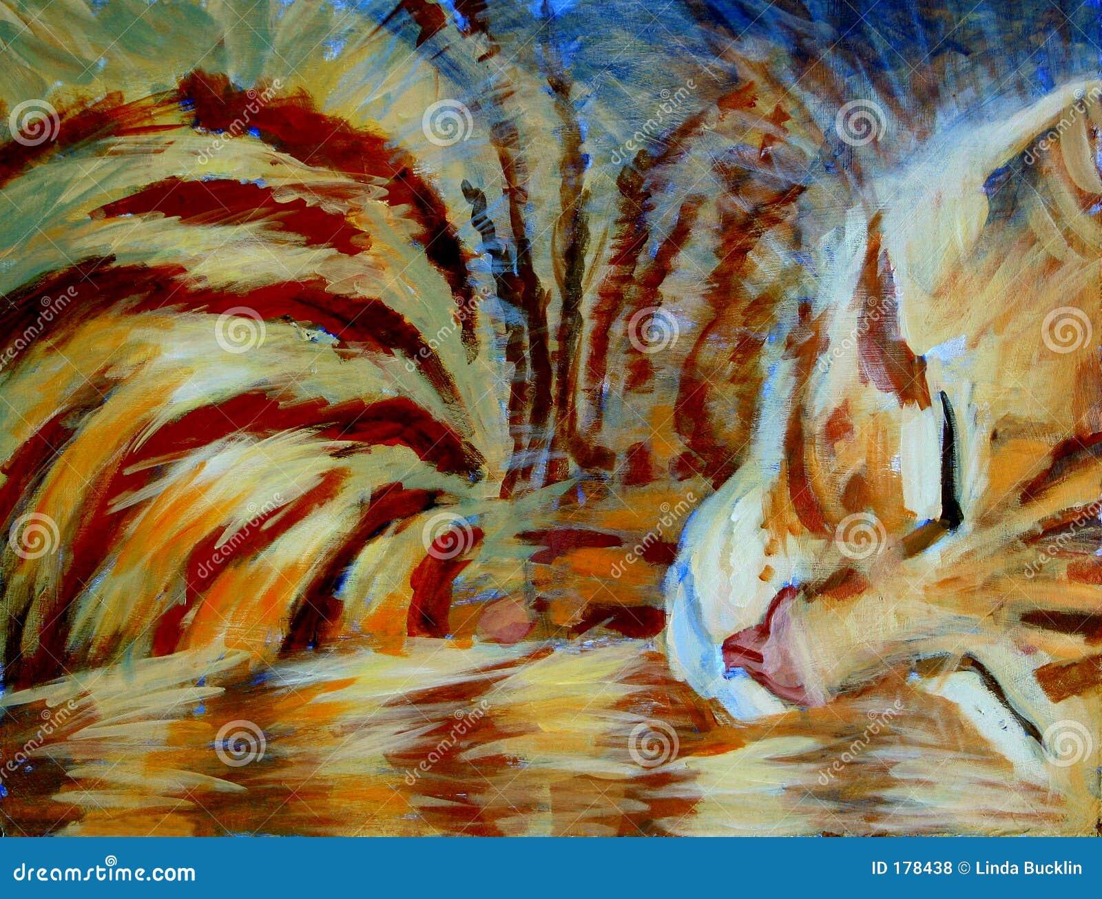 chaton orange dormant peinture acrylique photos libres de droits image 178438. Black Bedroom Furniture Sets. Home Design Ideas