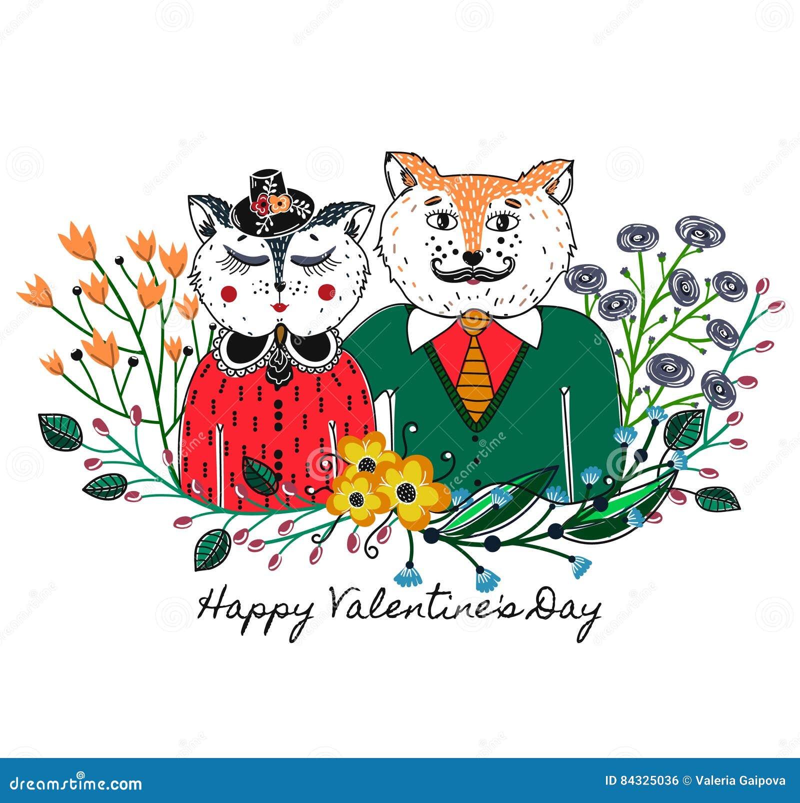 Chats amoureux Fond de salutation le jour du ` s de Valentine Régal de l amour vacances Cadre floral rose Croquis des animaux