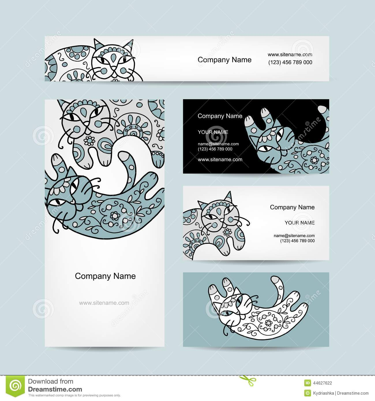 Chats Dart Avec Lornement Floral Conception De Cartes Visite Professionnelle Illustration Vecteur