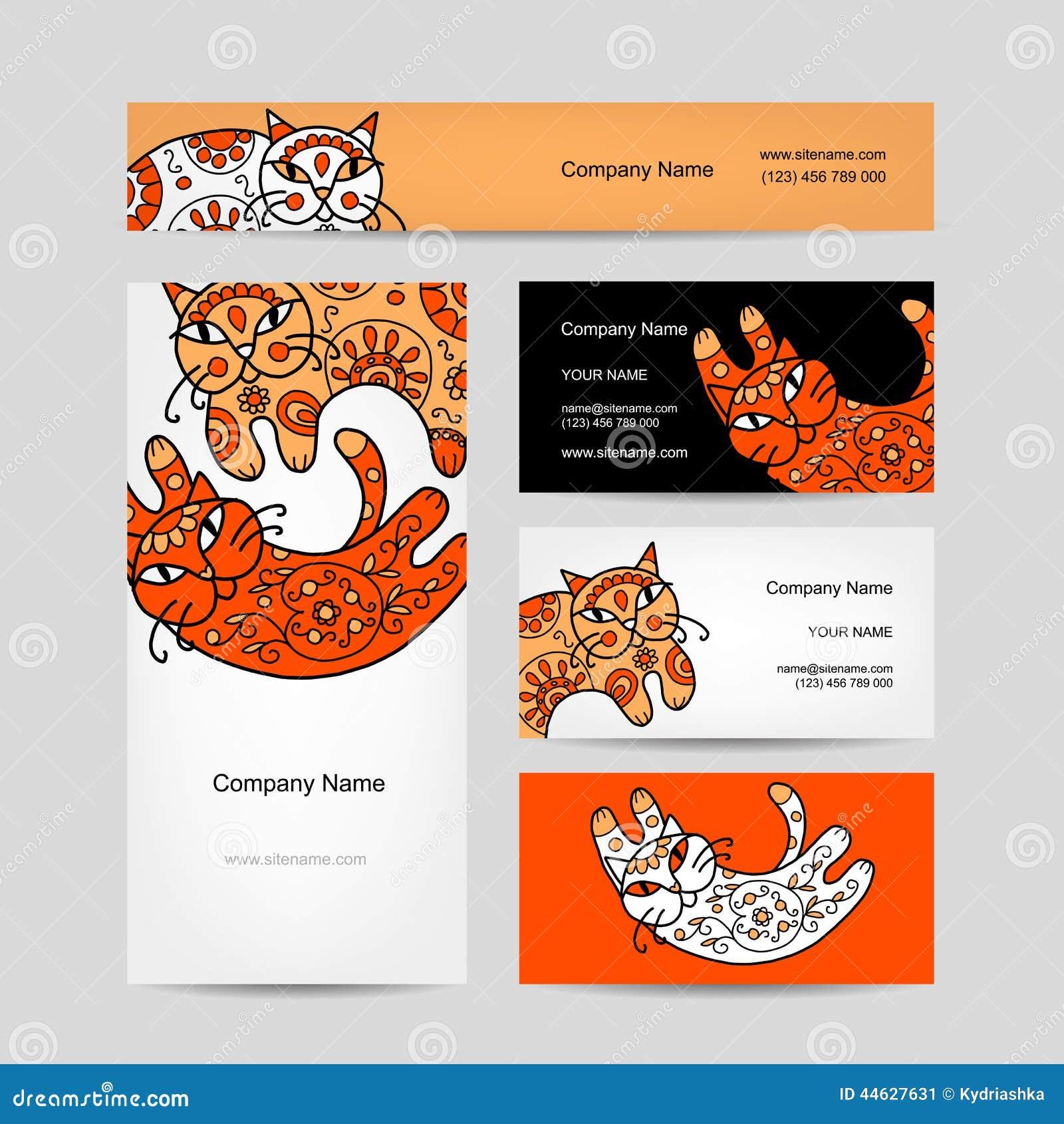Chats Dart Avec Lornement Floral Conception De Cartes Visite Professionnelle Illustration Vecteur
