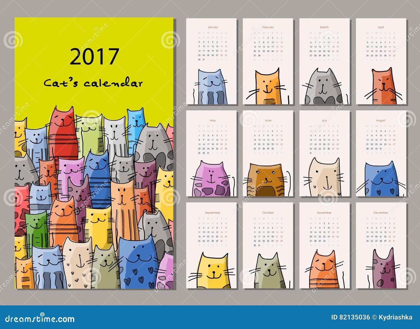 Chats dr les calendrier 2017 de conception illustration de - Calendrier design ...