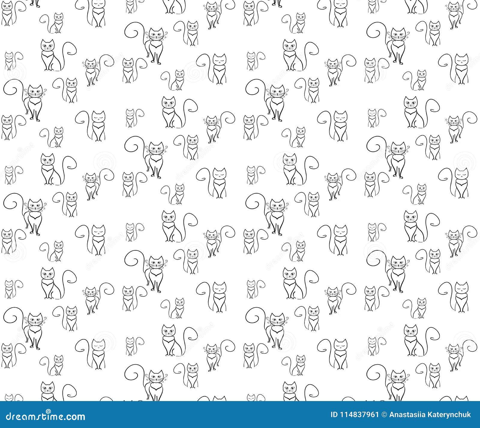 Chats fous de modèle Chat d ensemble sur le blackground blanc