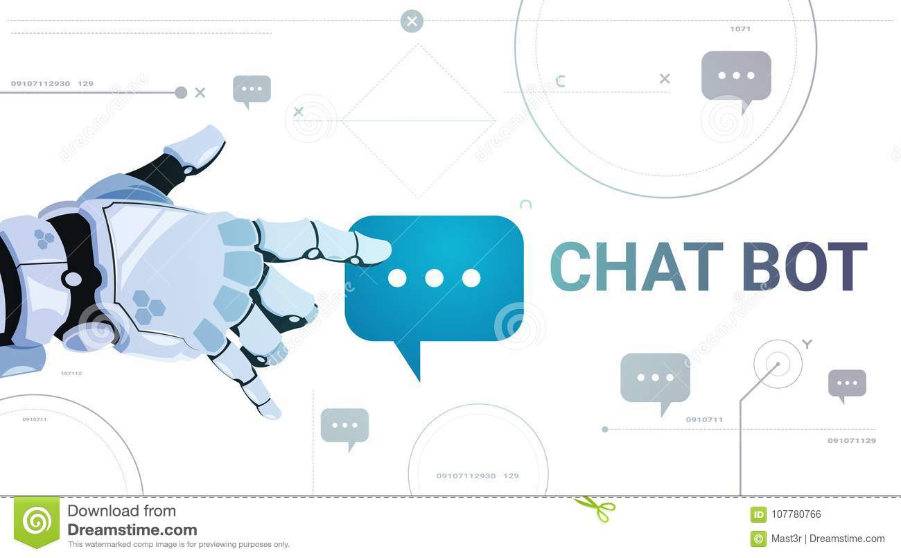 Chatter Service App Concept Robot Hand Touch Chat Bubble