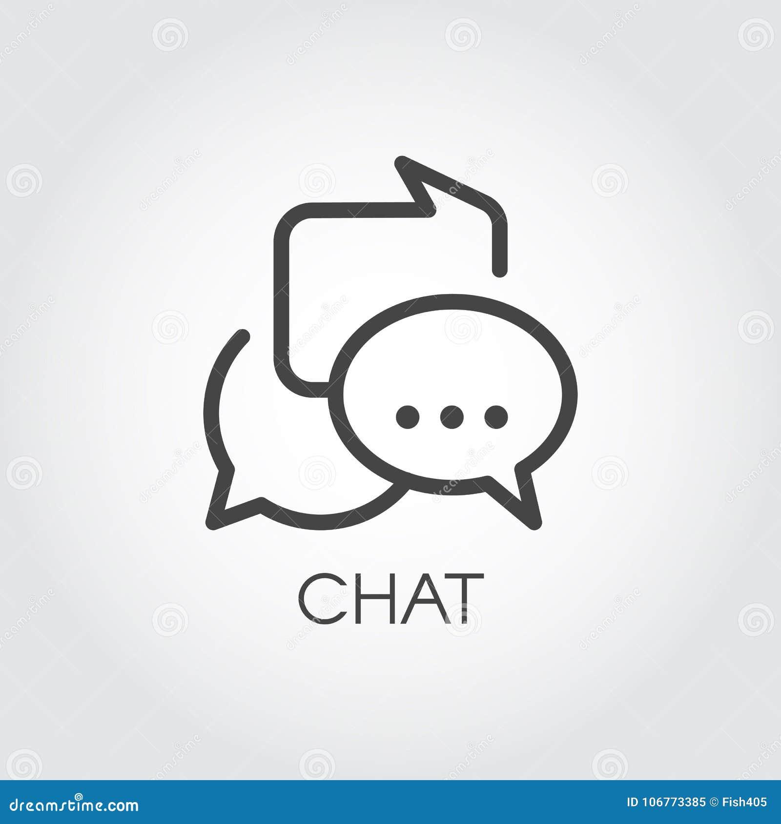 Chatting icon in outline style. Dialog speech contour bubbles. Messages or conversation line pictograph. UI element