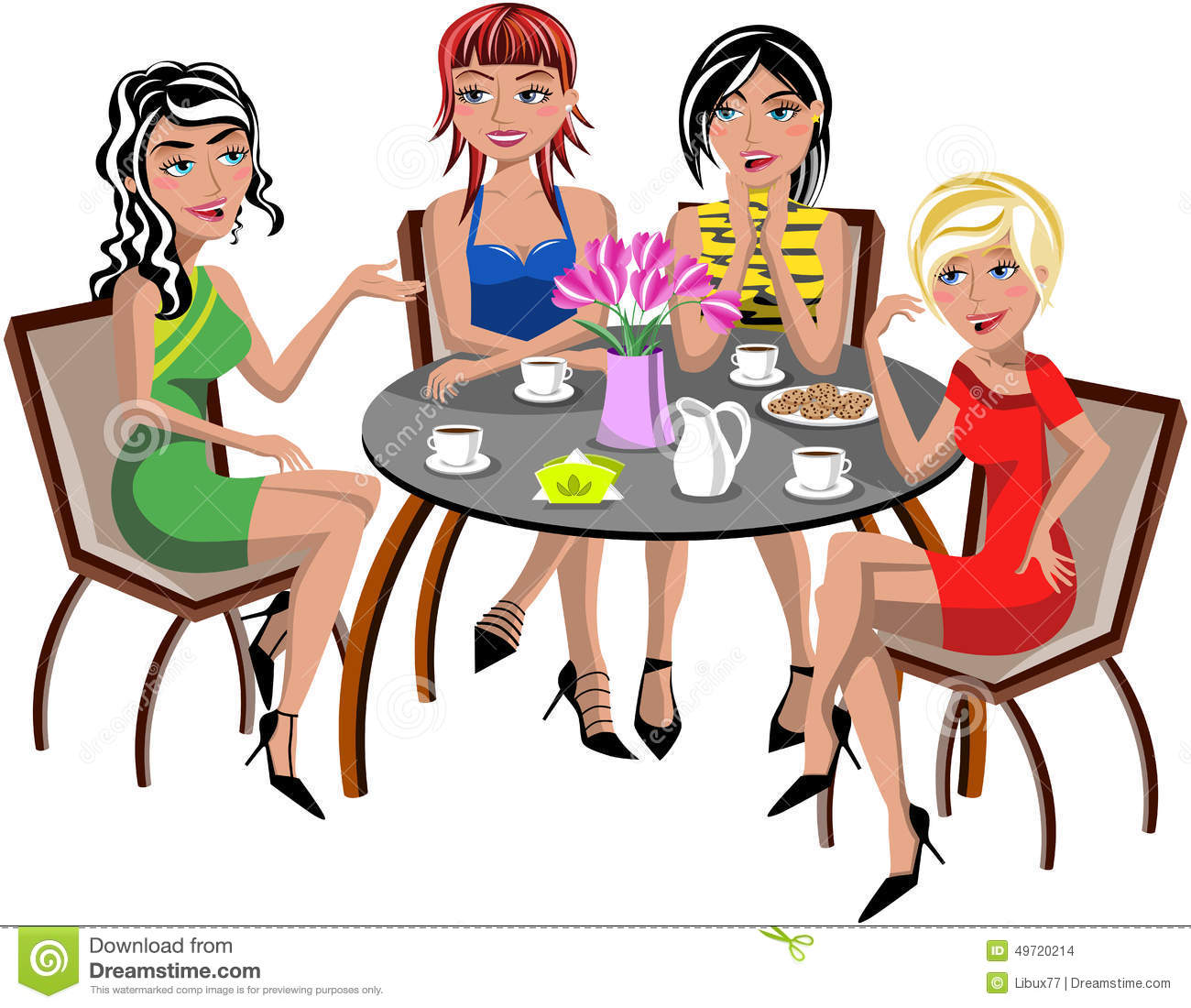 Chatting Women Sitting Table Coffee Tea Isolated Stock
