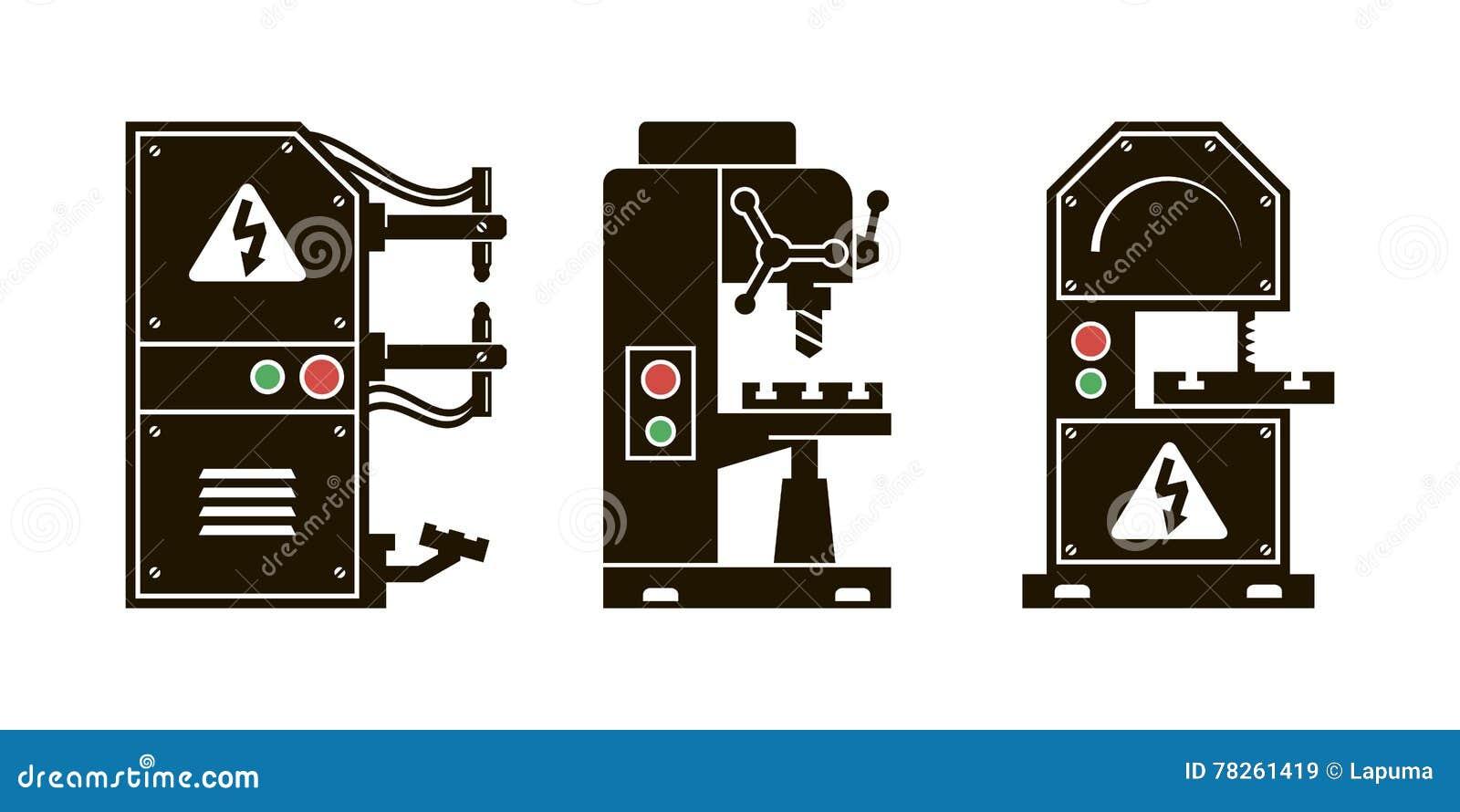 Chauffage de métal pour le traitement icônes de vecteur de noir
