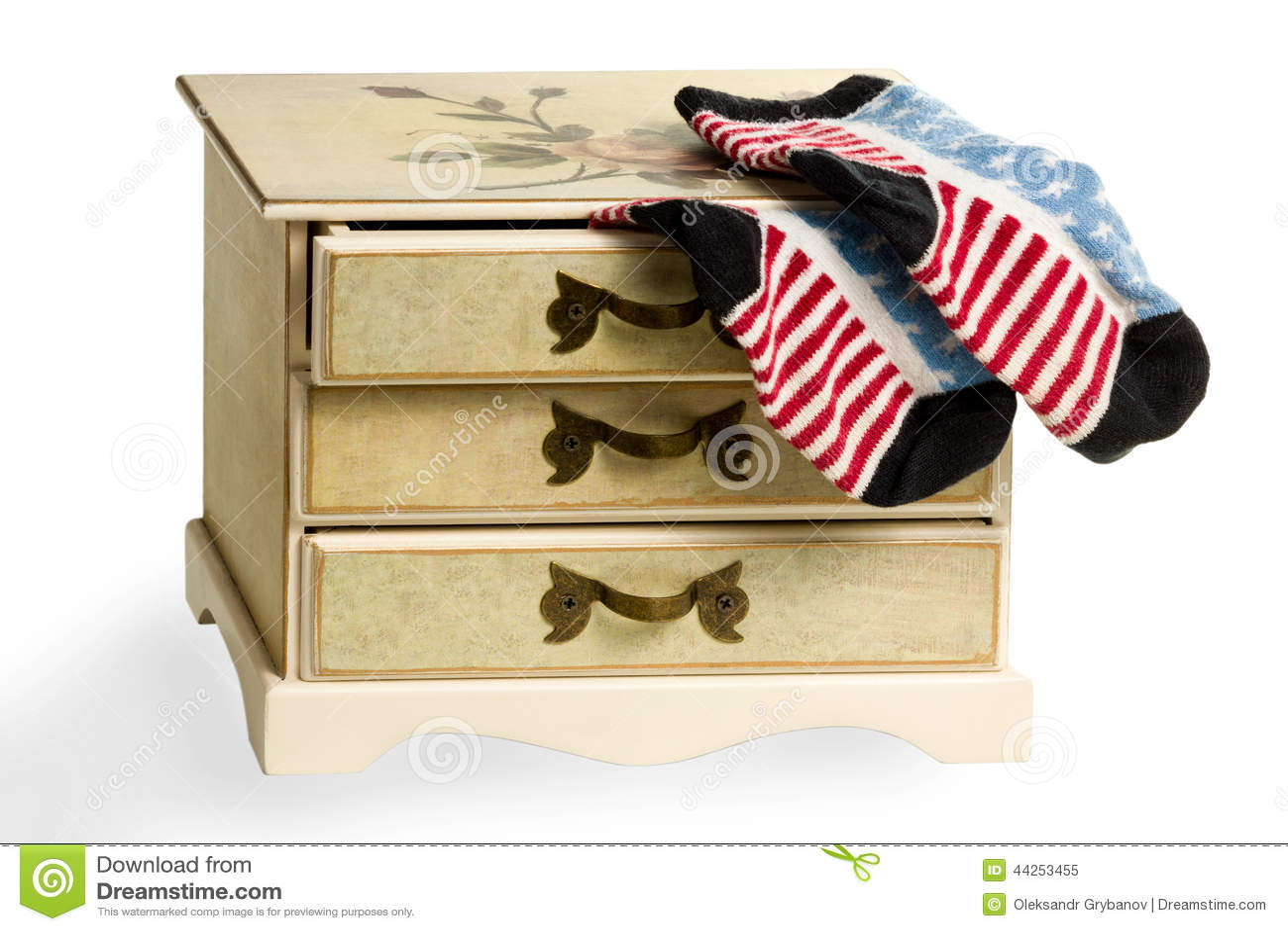 Chaussettes comme drapeau américain sur la raboteuse