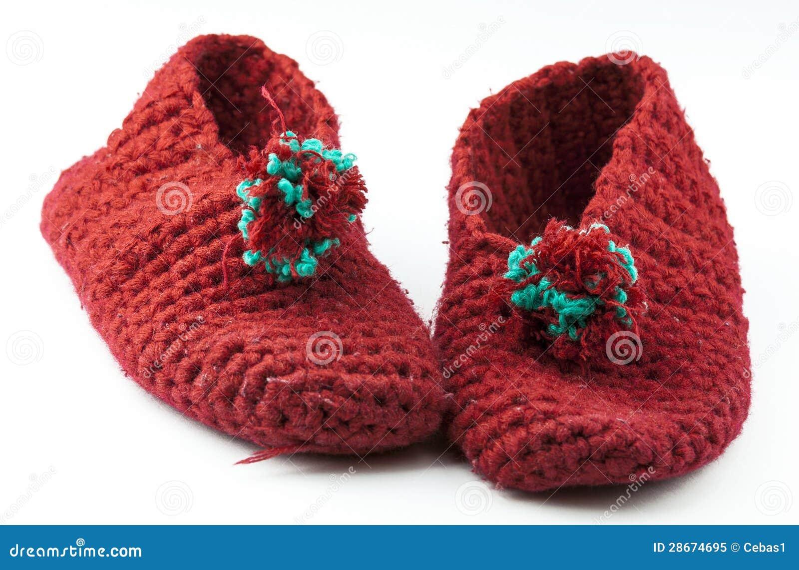 Chaussons tricotés par rouge