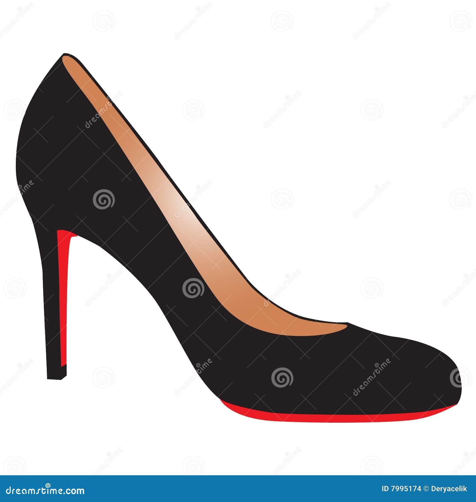 chaussure noire sexy de haut talon avec la semelle rouge images stock image 7995174