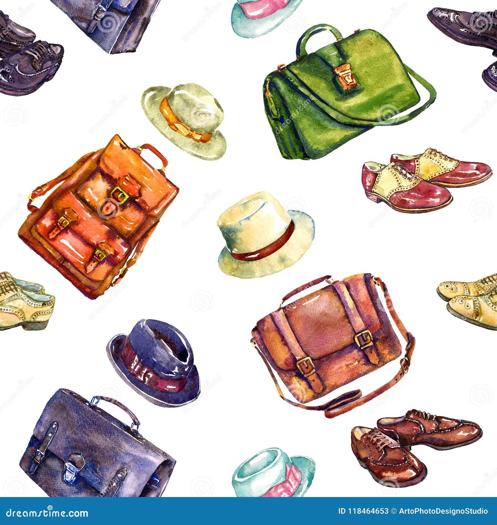 Chaussures du ` s de messieurs, sacs et collection élégante de combinaison de chapeaux, conception sans couture de modèle sur le