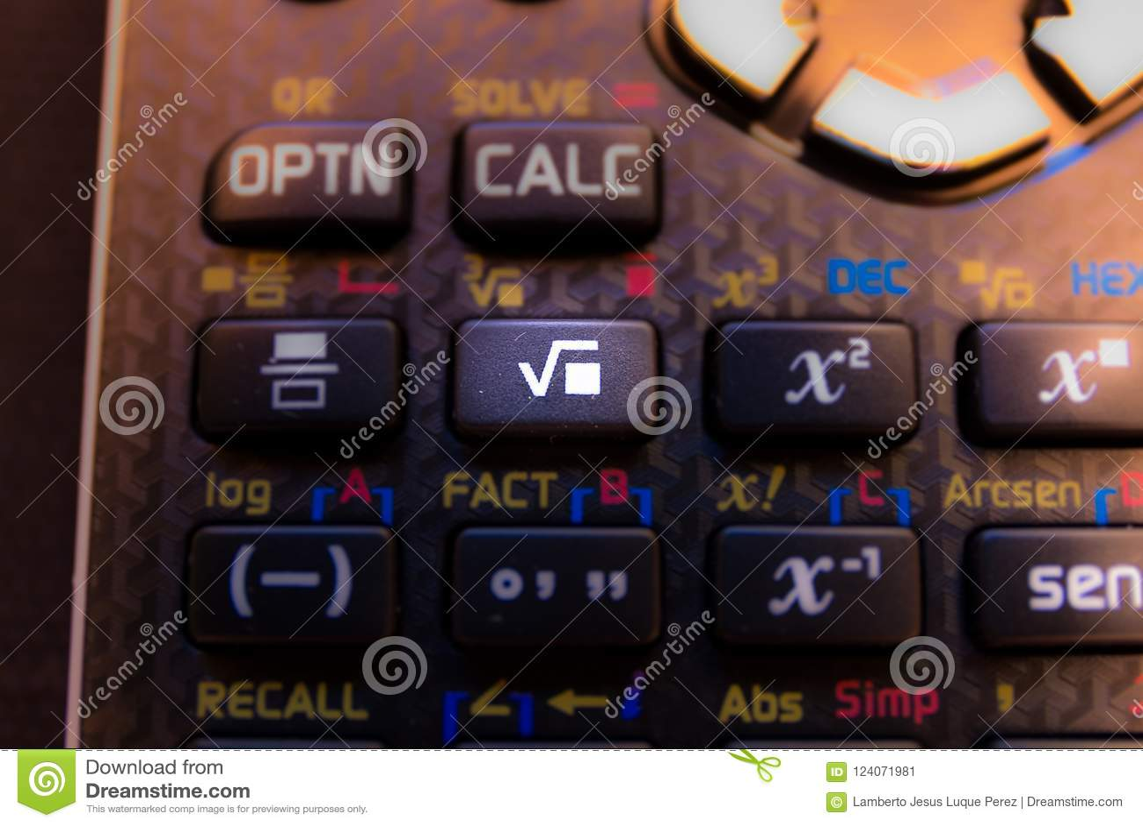 Chave da raiz quadrada do teclado de uma calculadora