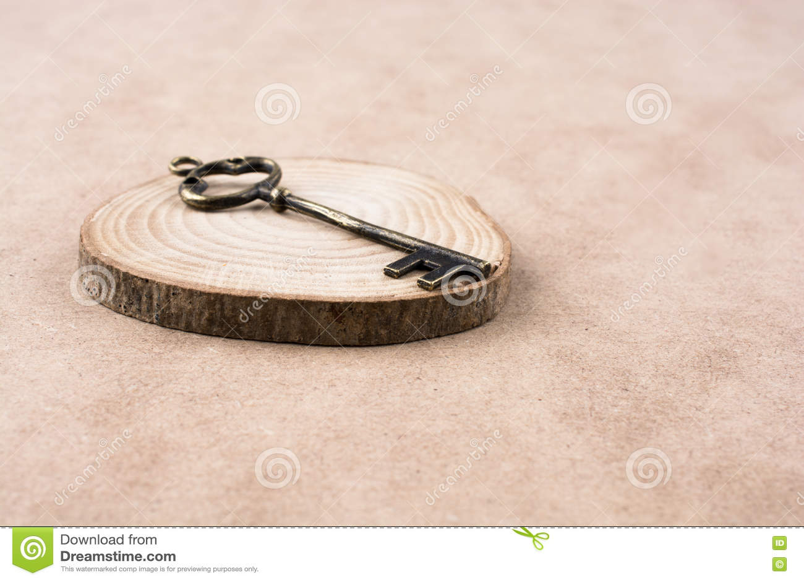 Chave denominada retro em um tronco da parte