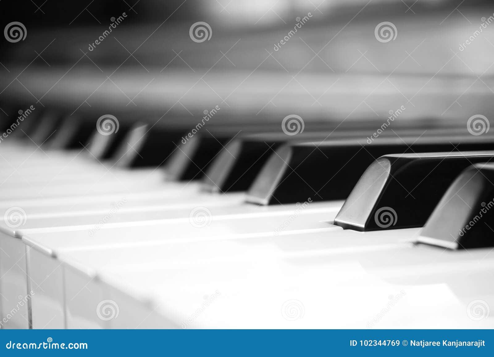 Chave do piano do close up Fundo do sumário e da arte Música clássica