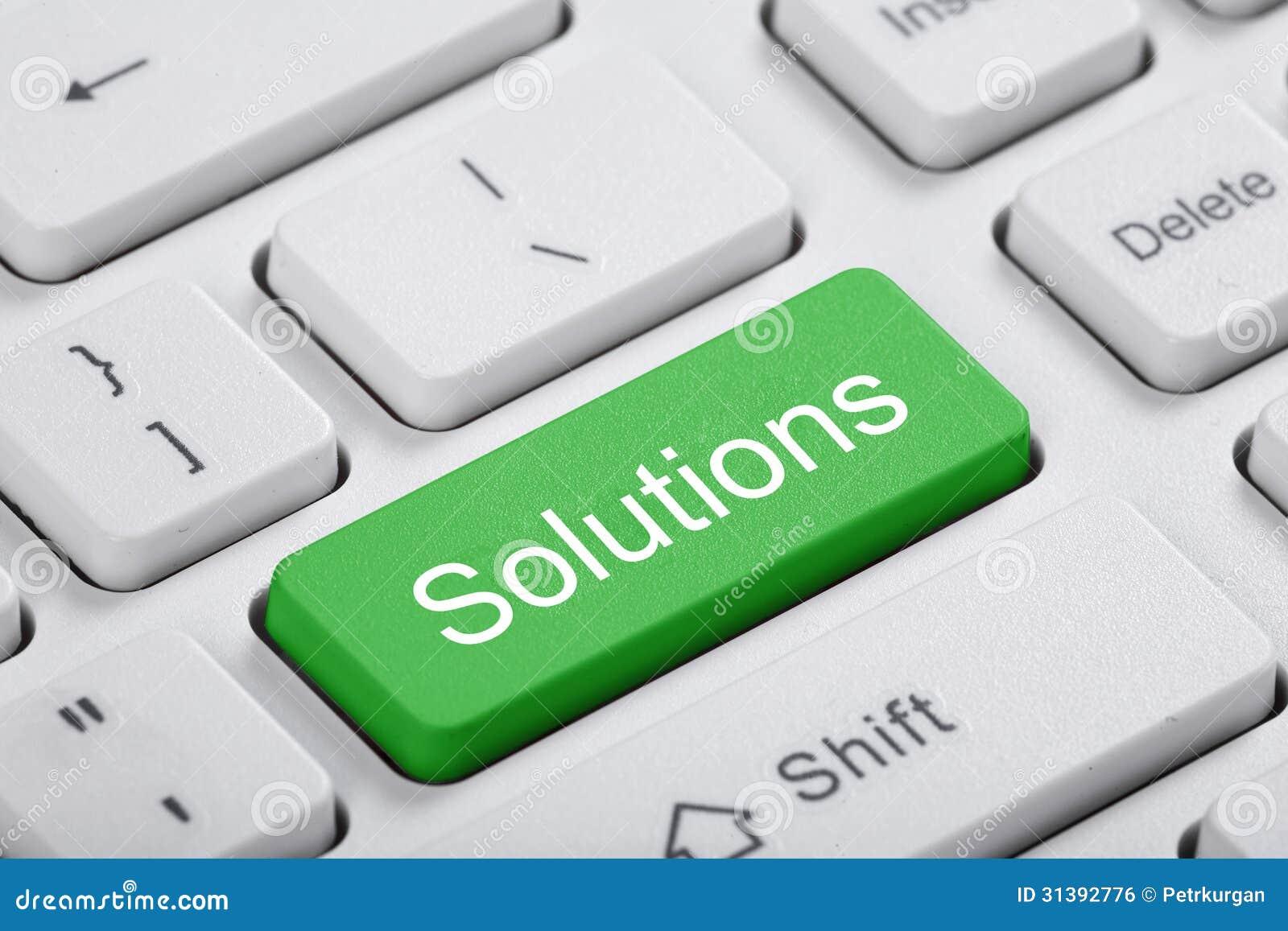 Chave verde do computador. Soluções